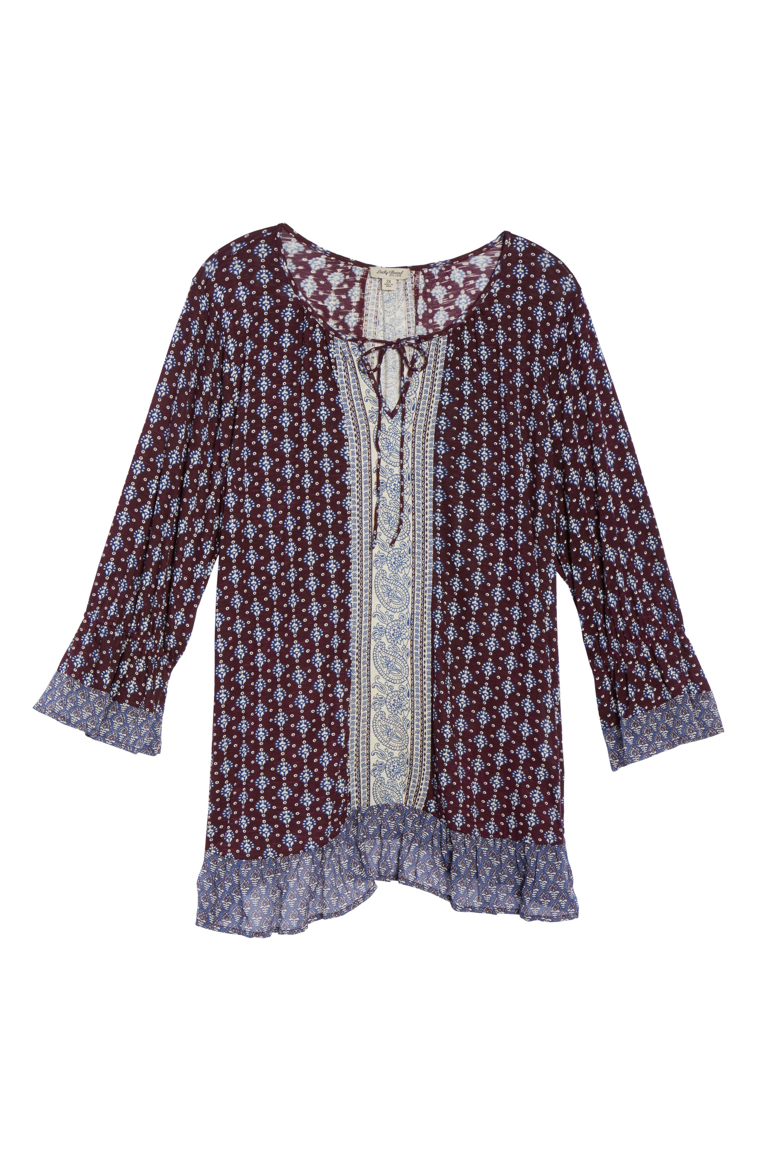 Alternate Image 5  - Lucky Brand Mix Print Peasant Top (Plus Size)