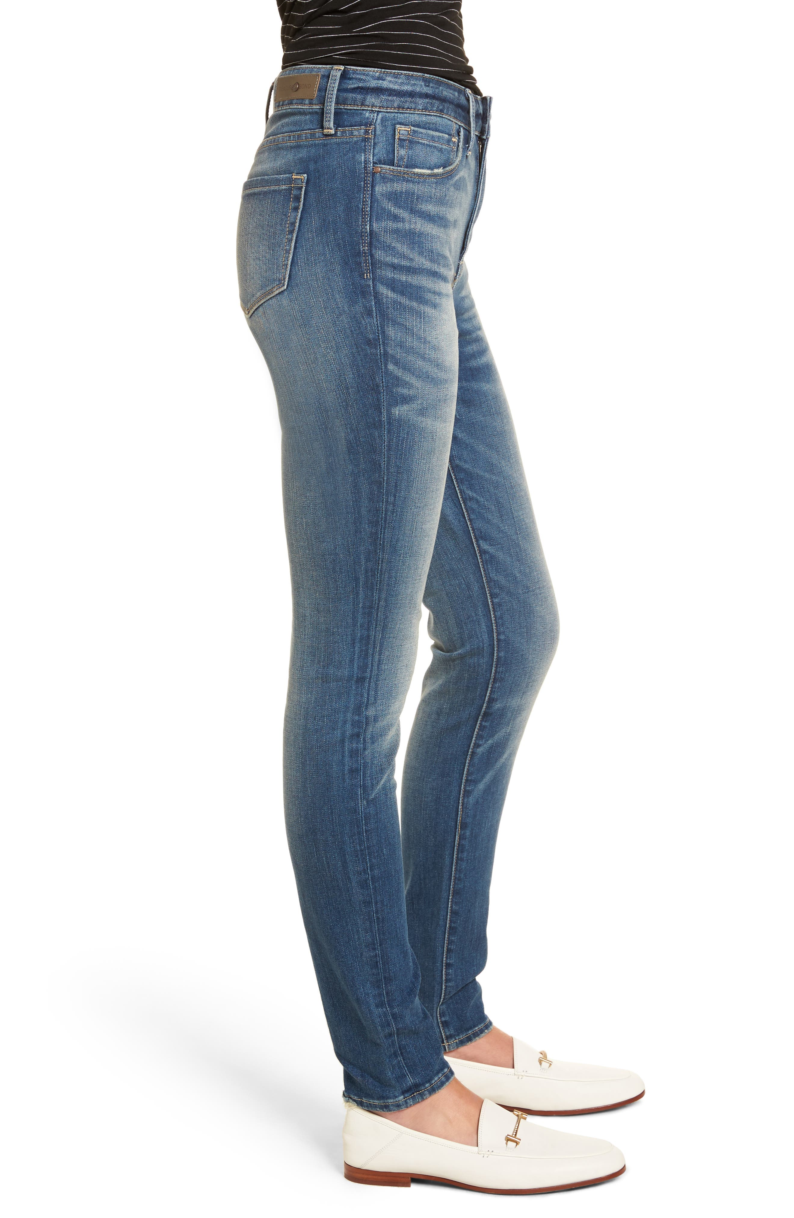 High Waist Skinny Jeans,                             Alternate thumbnail 4, color,                             Rain Medium Worn