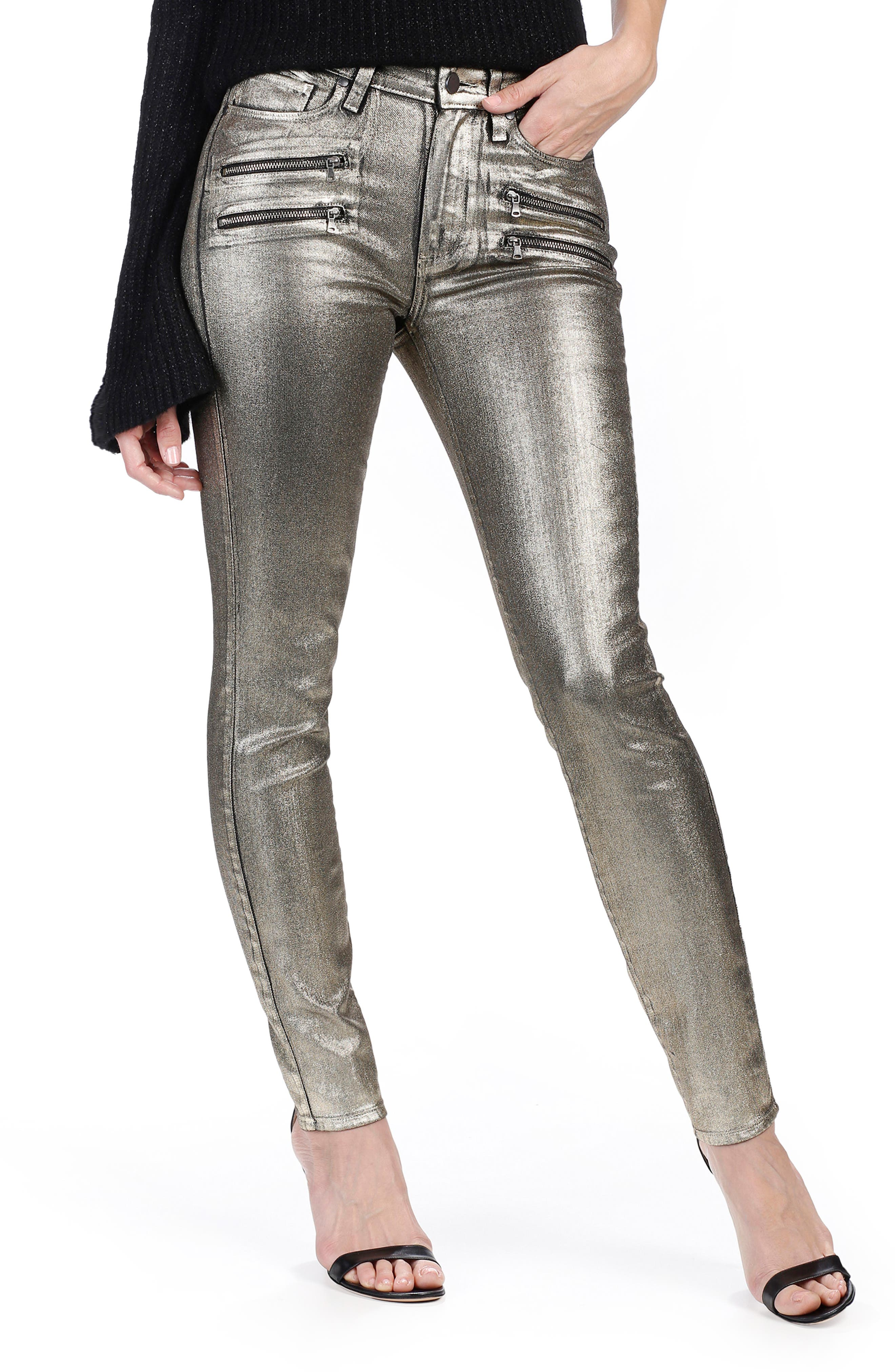 Rosie HW x PAIGE Stevie High Waist Skinny Jeans,                         Main,                         color, Gold Galaxy Coating