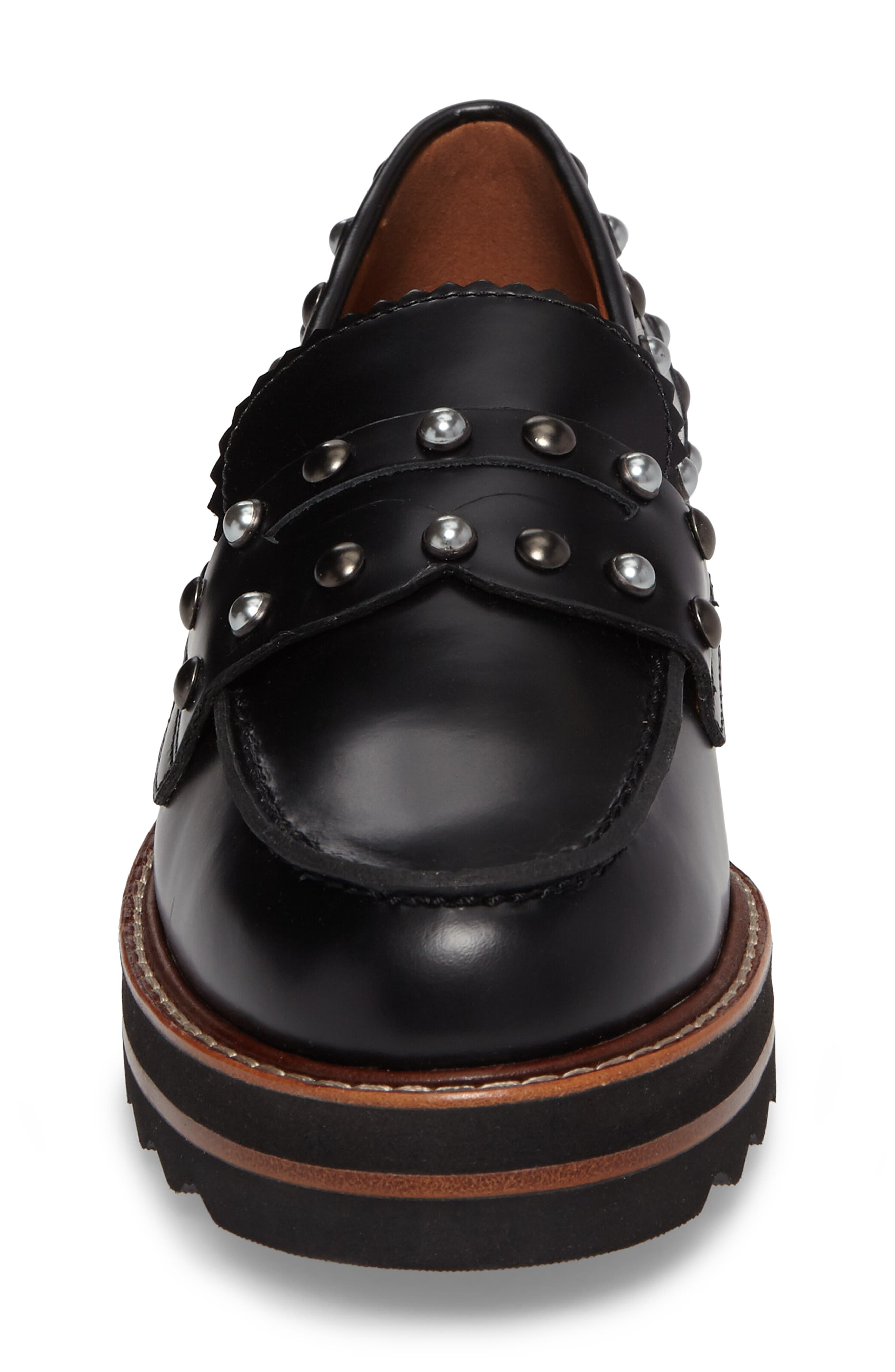 Lenox Loafer,                             Alternate thumbnail 4, color,                             Black Leather