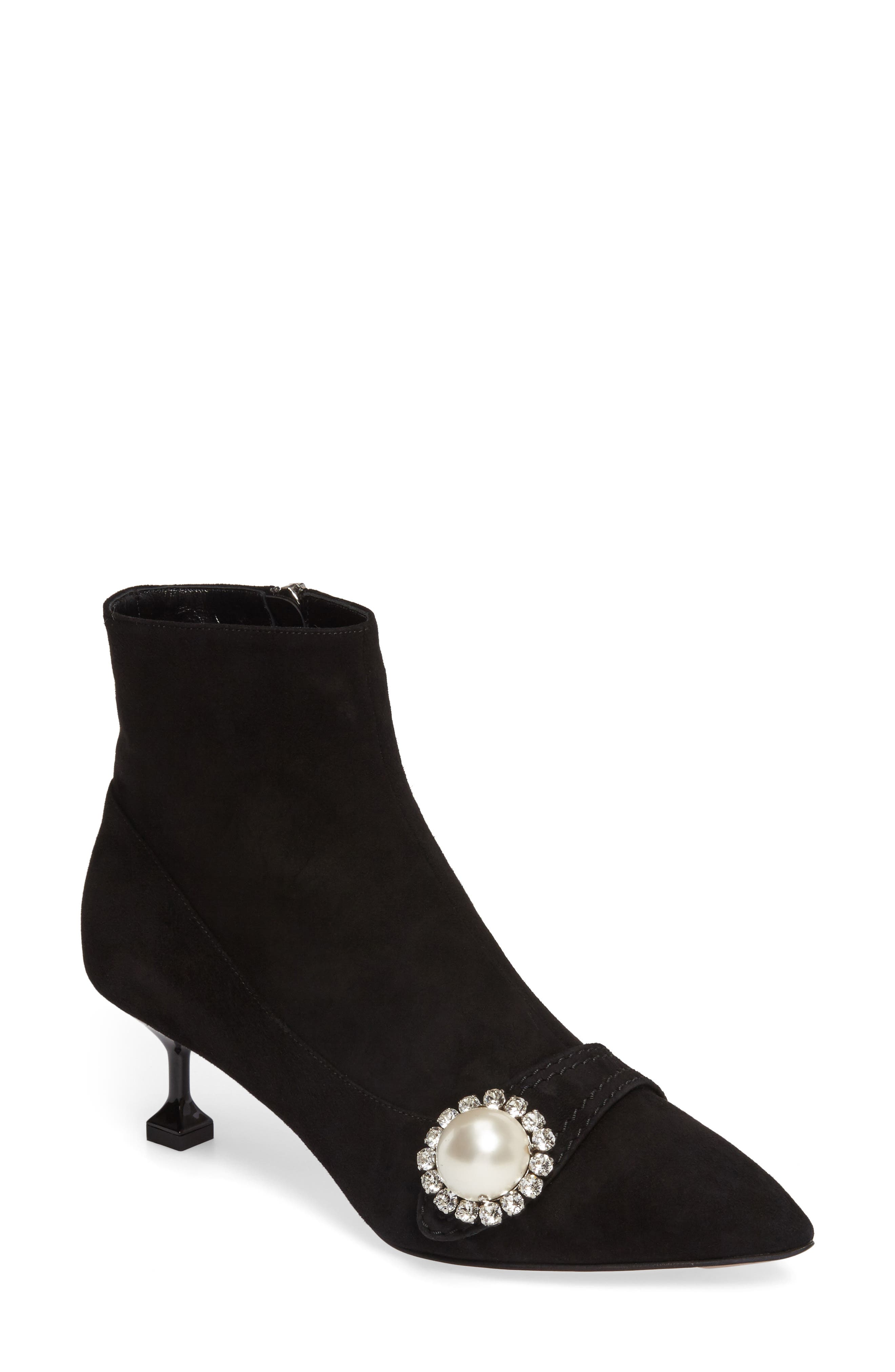 Main Image - Miu Miu Embellished Pointy Toe Bootie (Women)