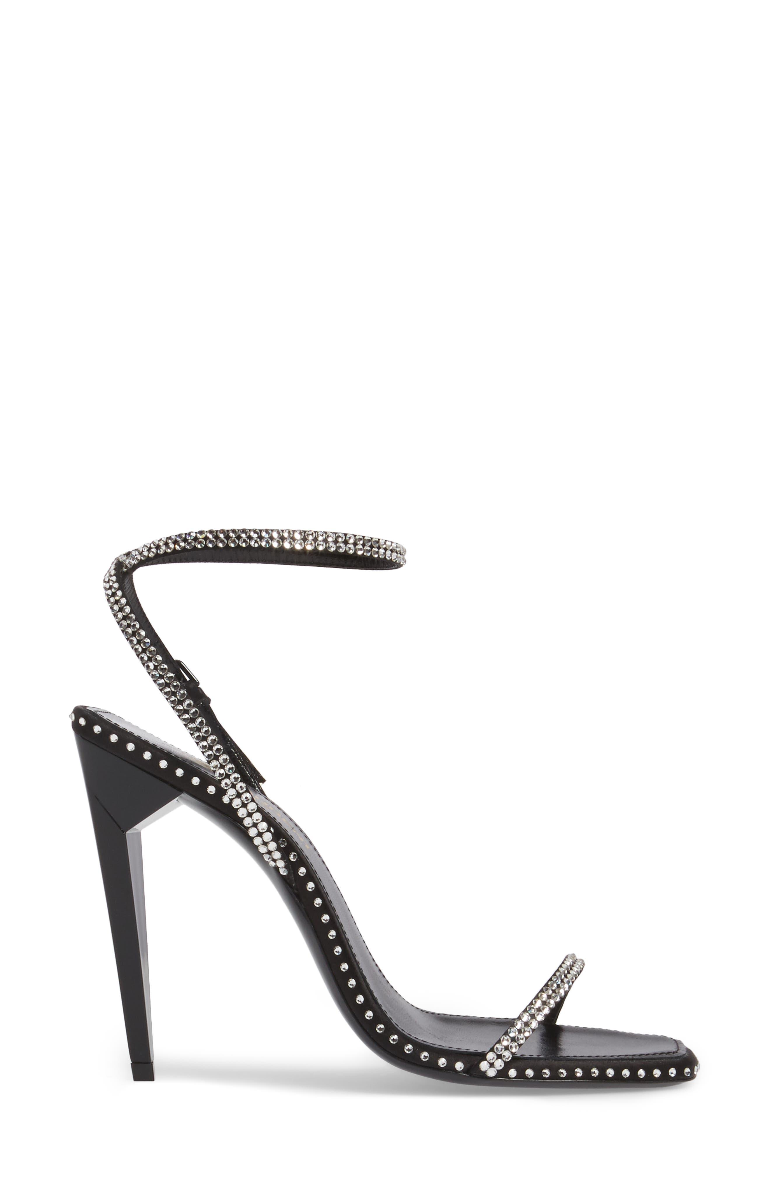 Freja Crystal Embellished Sandal,                             Alternate thumbnail 3, color,                             Black Crystal