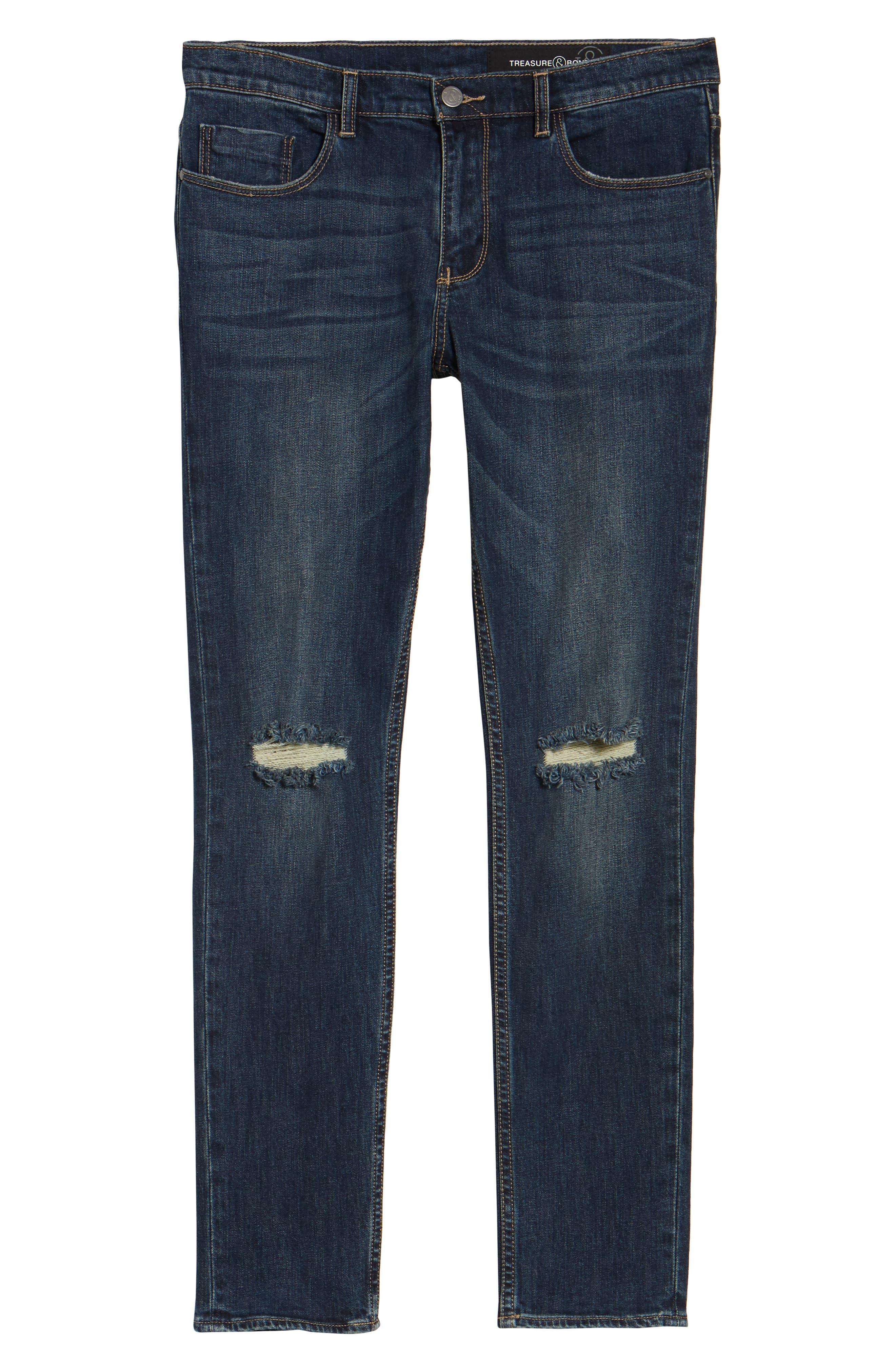 Slim Fit Destroyed Jeans,                             Alternate thumbnail 6, color,                             Blue Medium Indigo