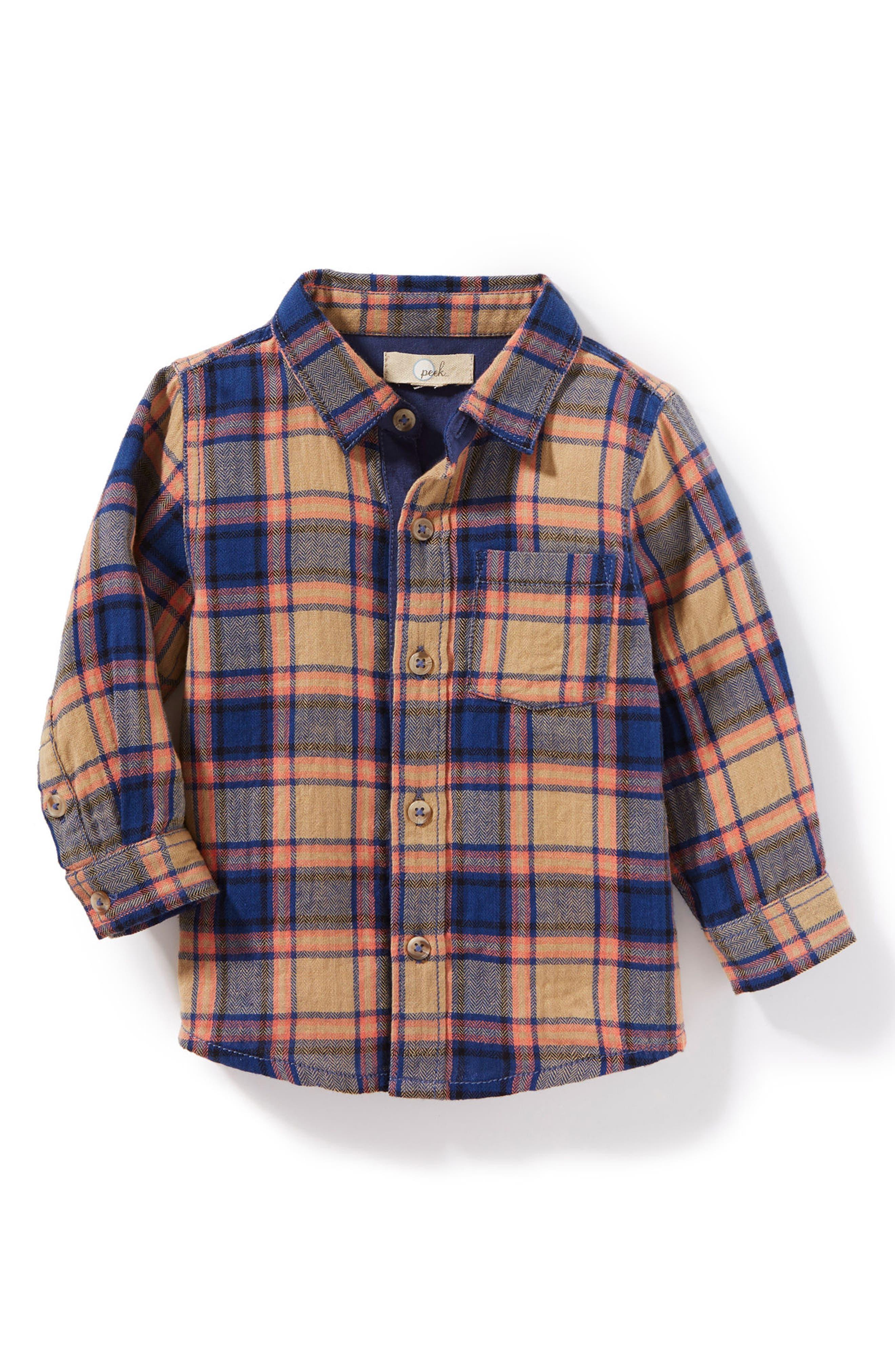 Henry Plaid Woven Shirt,                         Main,                         color, Khaki