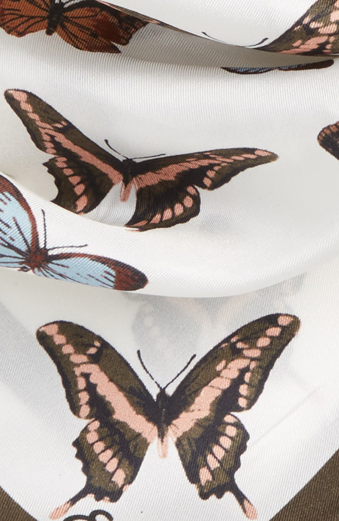Butterfly Silk Bandana,                             Alternate thumbnail 3, color,                             Marshmallow