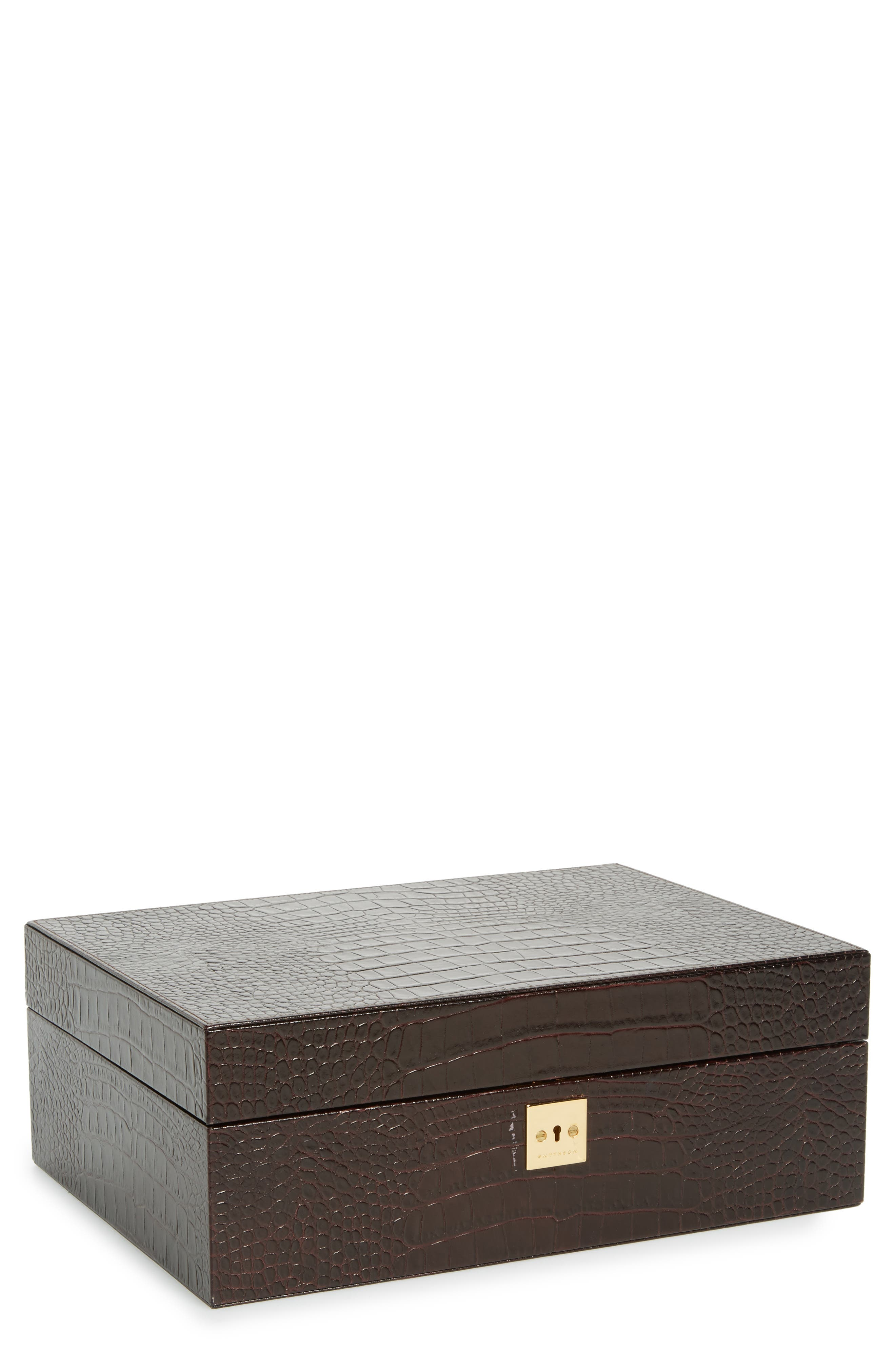 Smythson Mara Croc Embossed Jewelry Box with Travel Tray