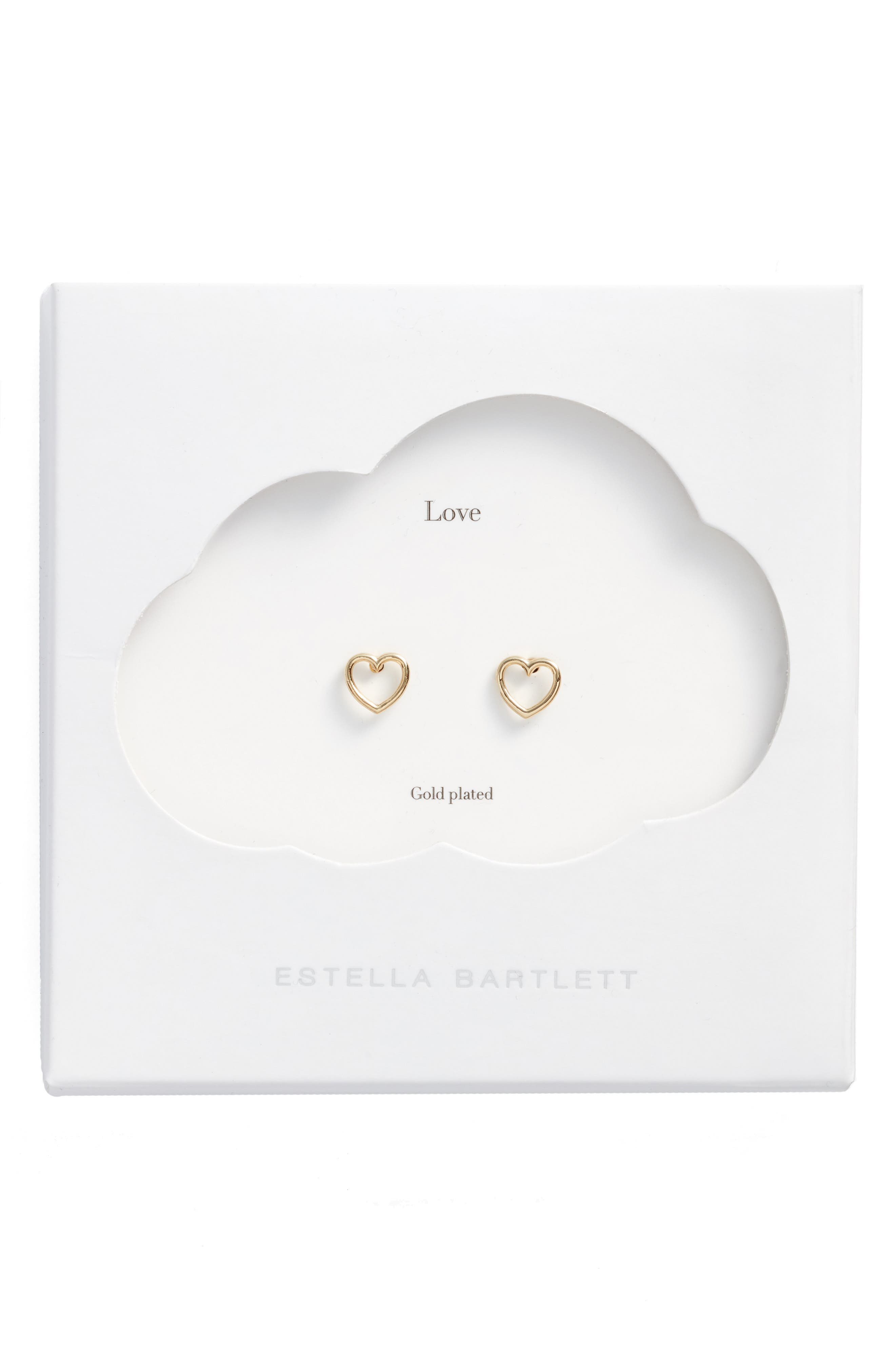Small Open Heart Stud Earrings,                         Main,                         color, Gold