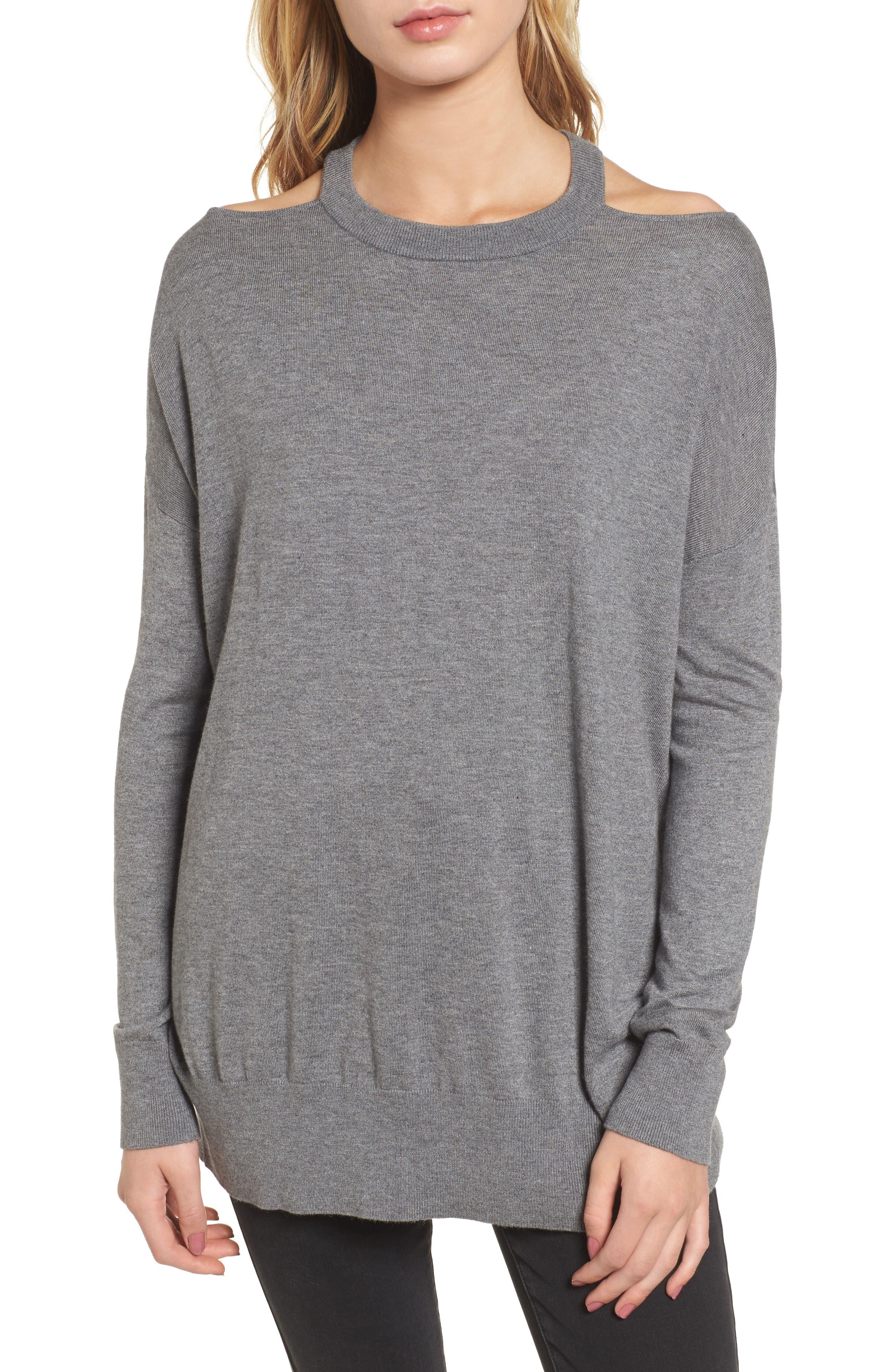 Canarise Cutout Sweater,                             Main thumbnail 1, color,                             Heather Cinder