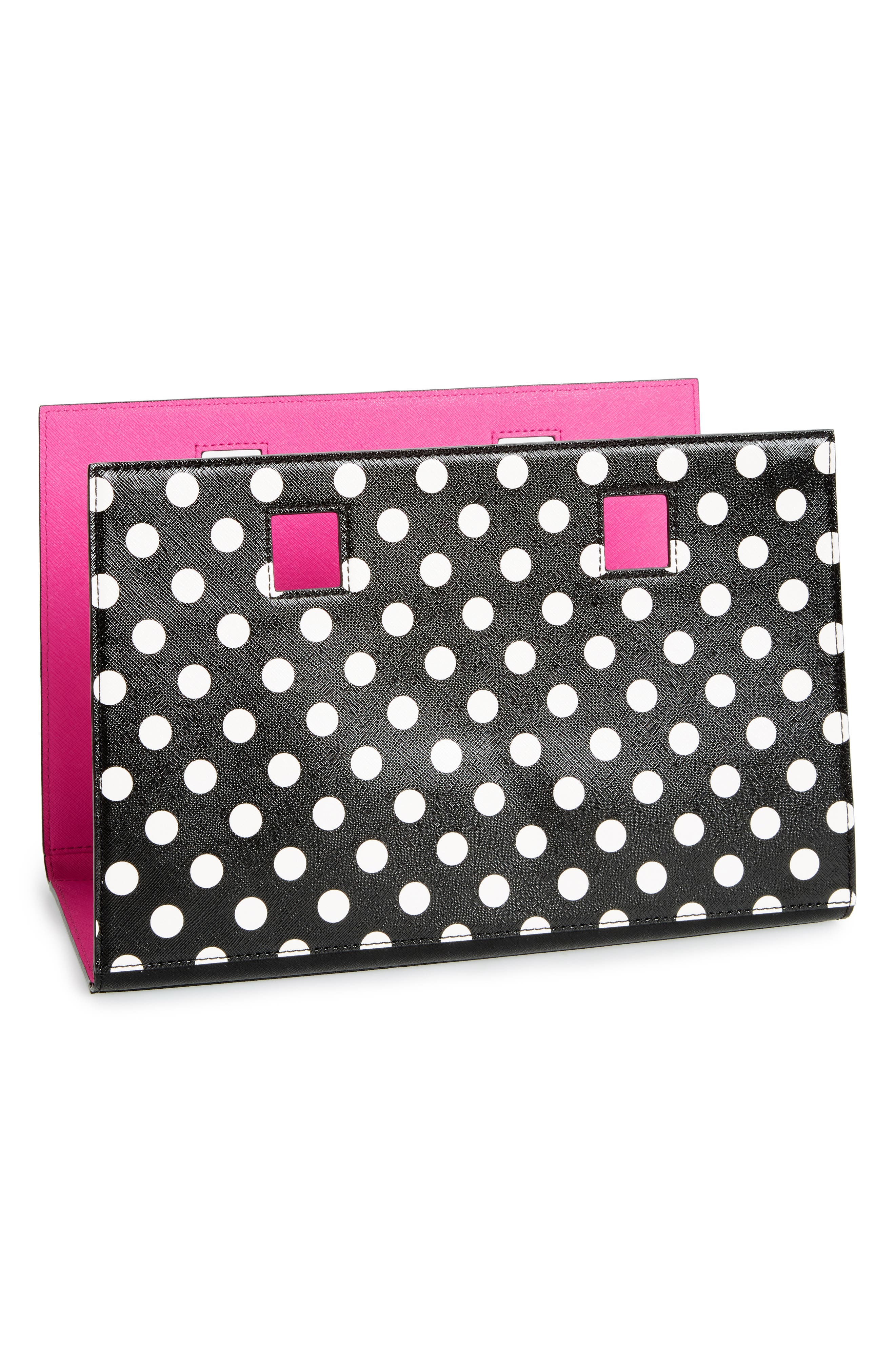 make it mine reversible polka dot/solid leather snap-on accent flap,                             Main thumbnail 1, color,                             Blk/ Vivdsn