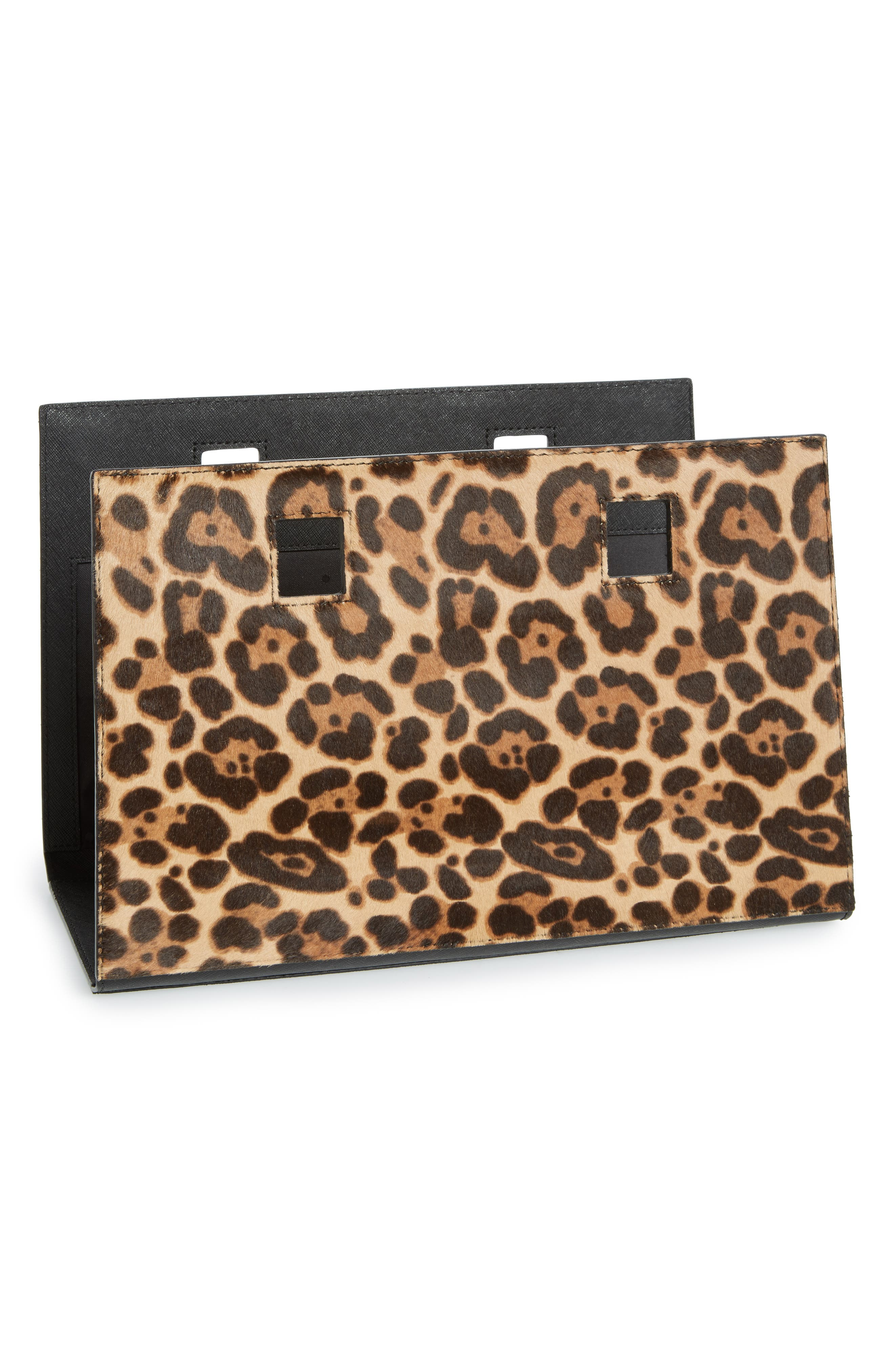 kate spade new york make it mine reversible solid leather/leopard-print genuine calf hair snap-on accent flap