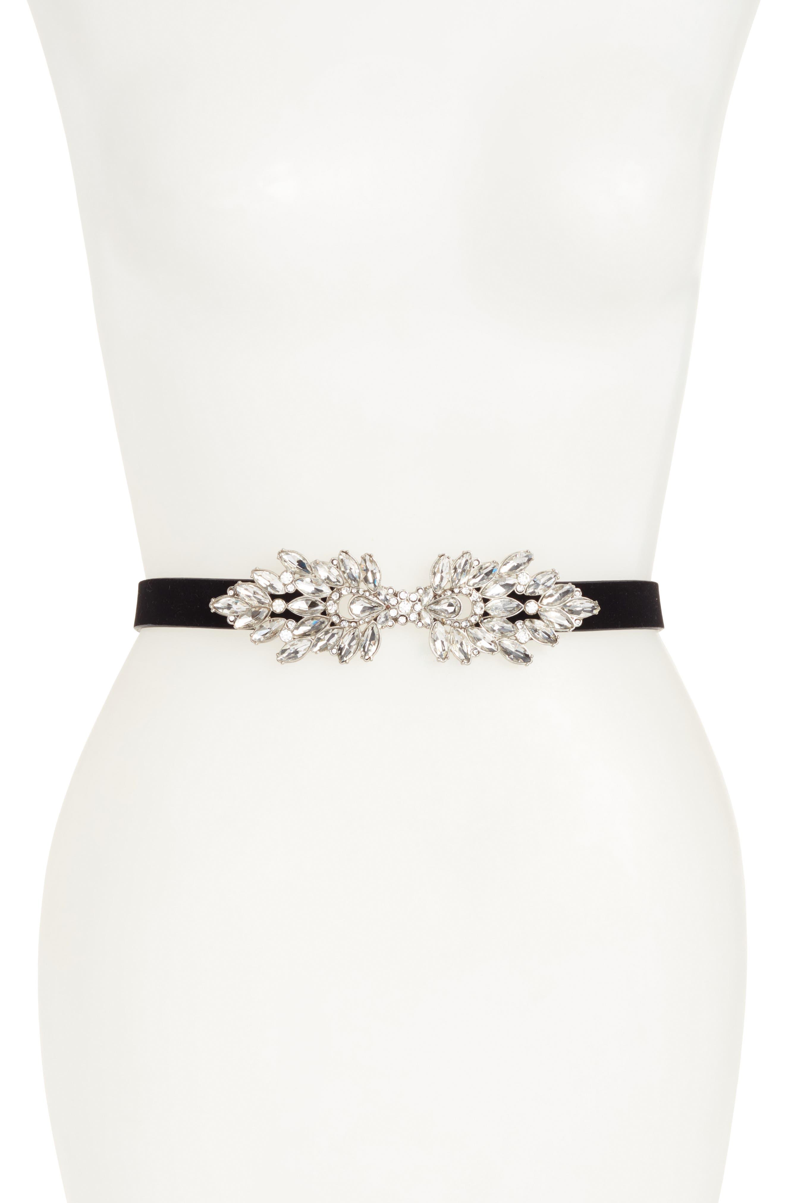 Crystal Embellished Velvet Stretch Belt,                         Main,                         color, Clear