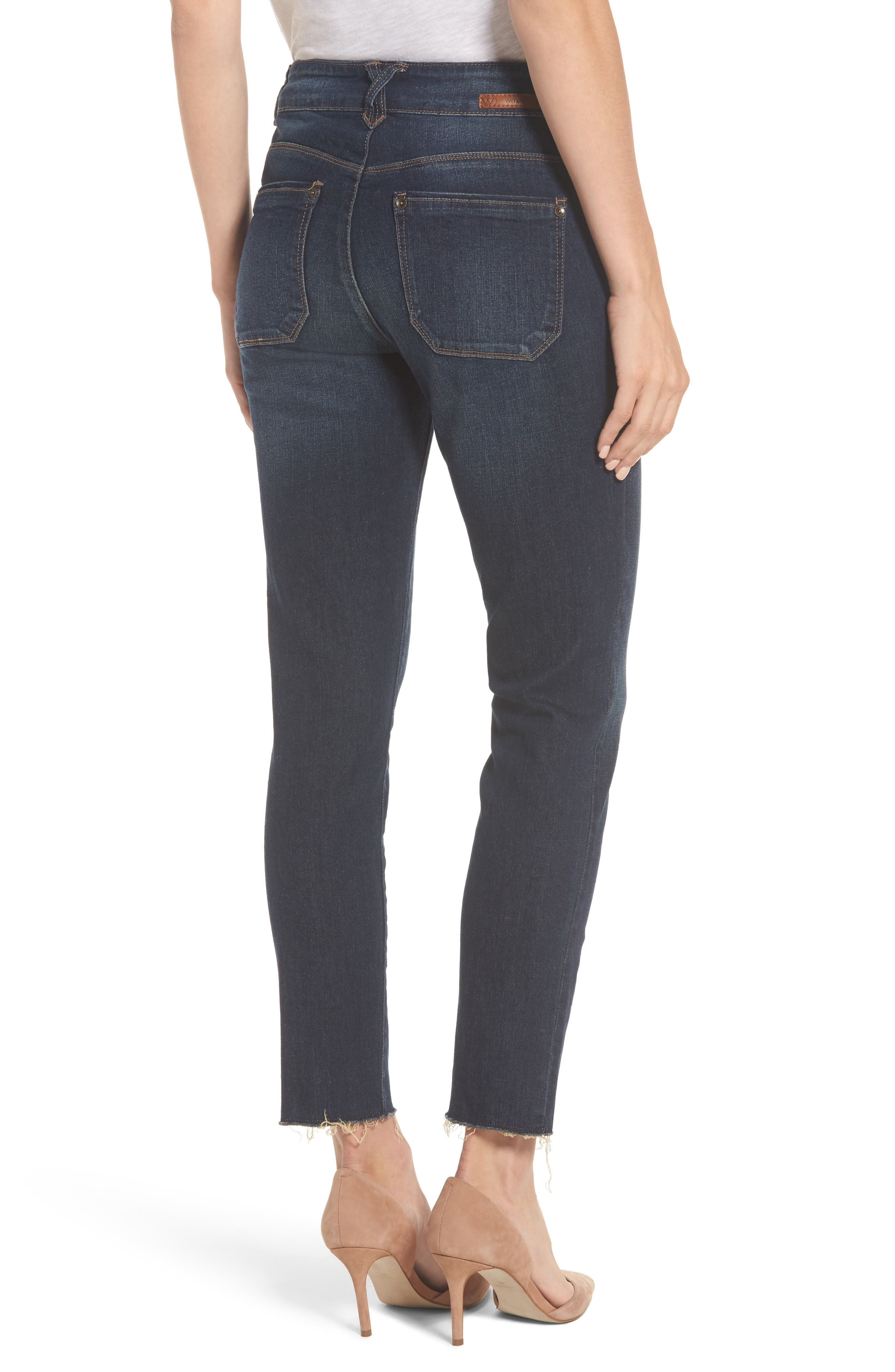 Two-Button High Waist Skinny Jeans,                             Alternate thumbnail 2, color,                             Indigo