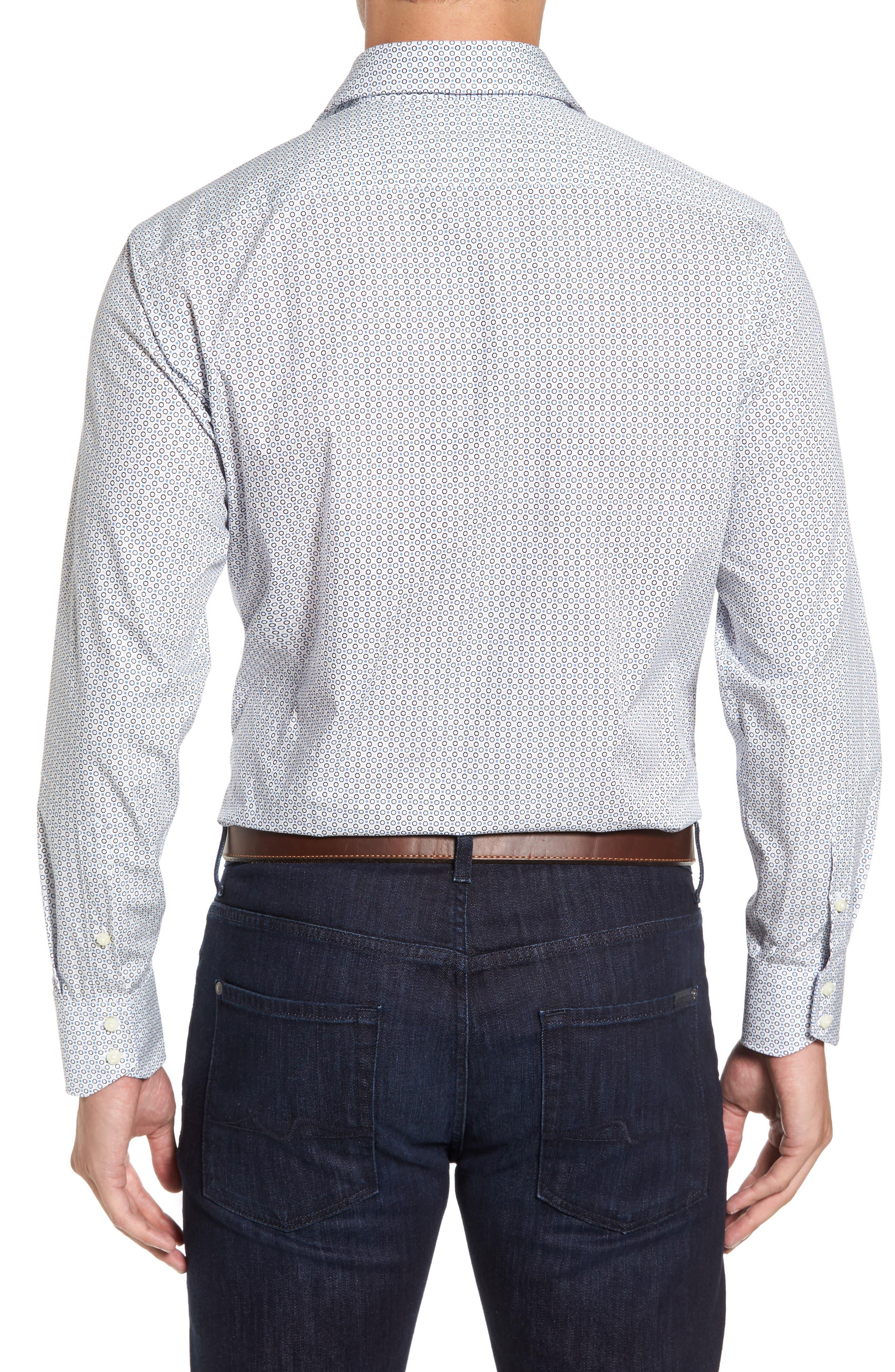 Regular Fit Geo Print Sport Shirt,                             Alternate thumbnail 2, color,                             Blue