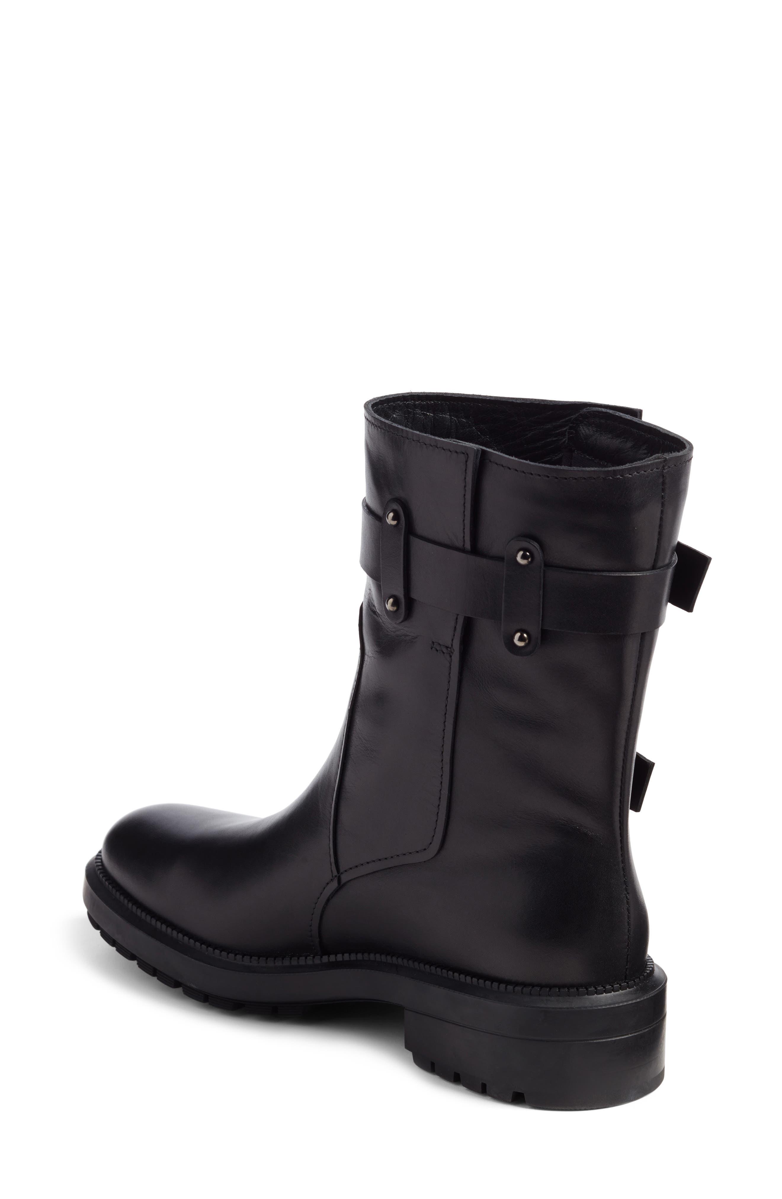 Leonie Weatherproof Leather Boot,                             Alternate thumbnail 3, color,                             Black Calf
