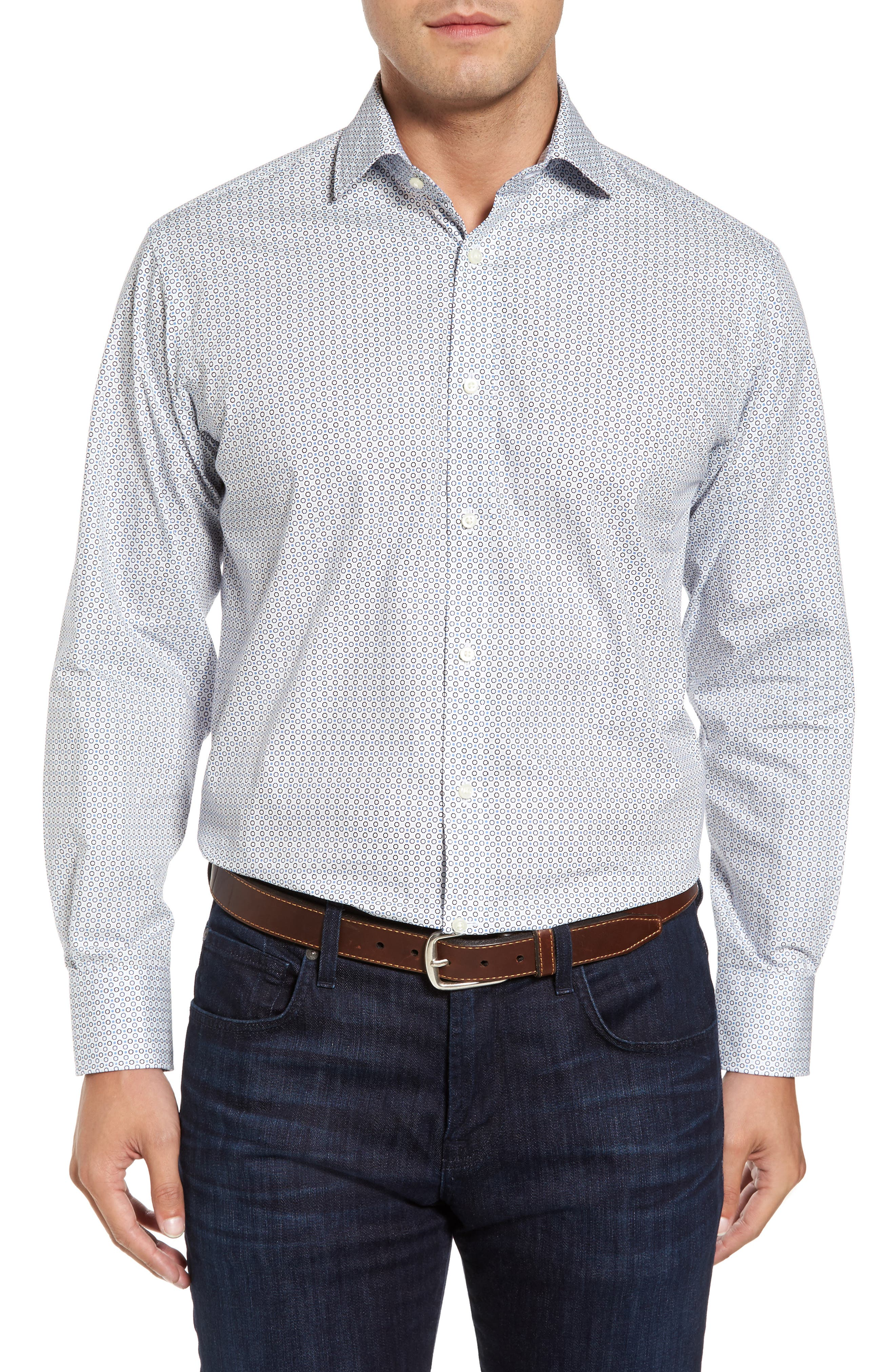 Regular Fit Geo Print Sport Shirt,                         Main,                         color, Blue