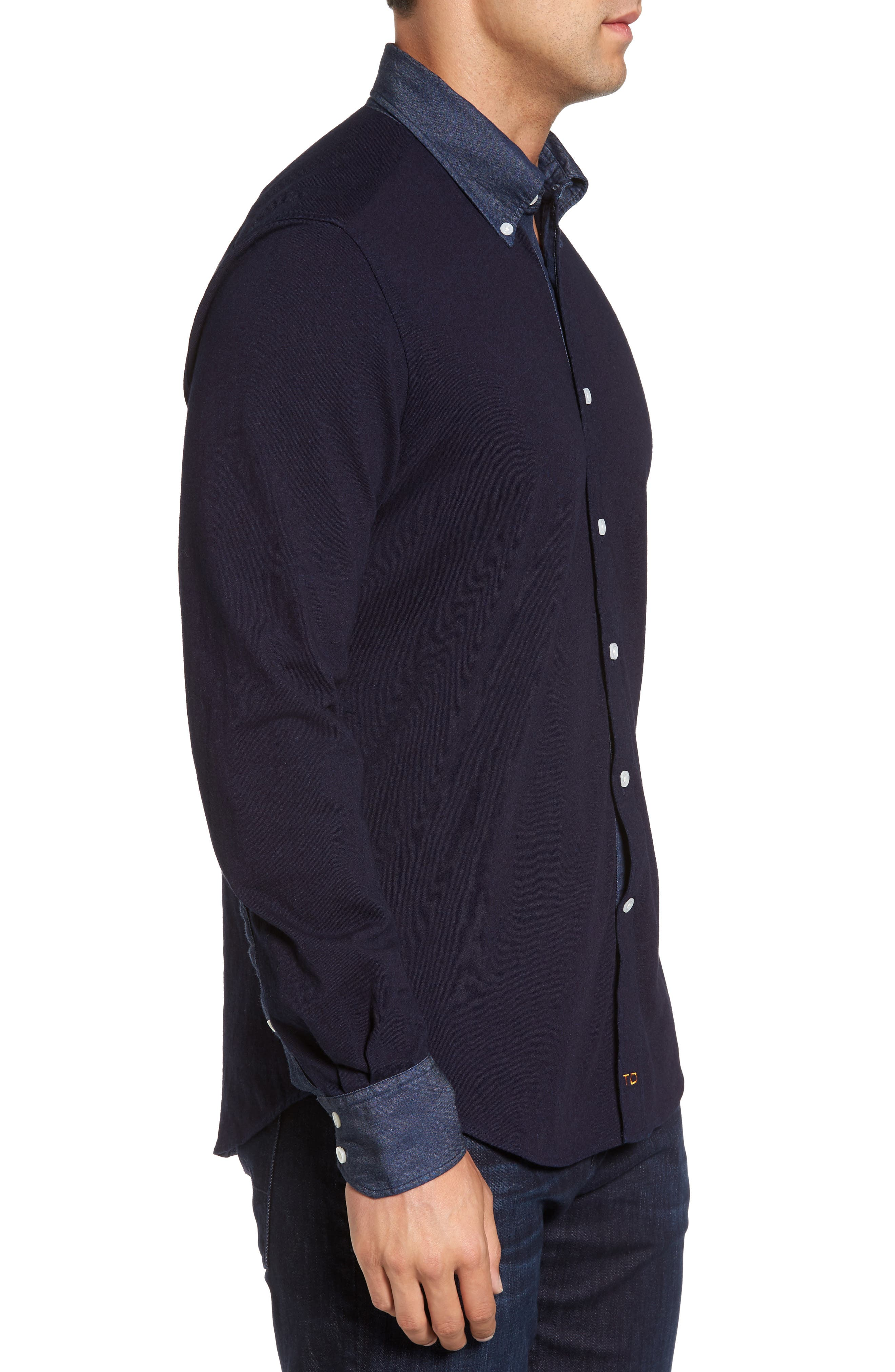 Regular Fit Chambray Trim Jersey Shirt,                             Alternate thumbnail 3, color,                             Indigo