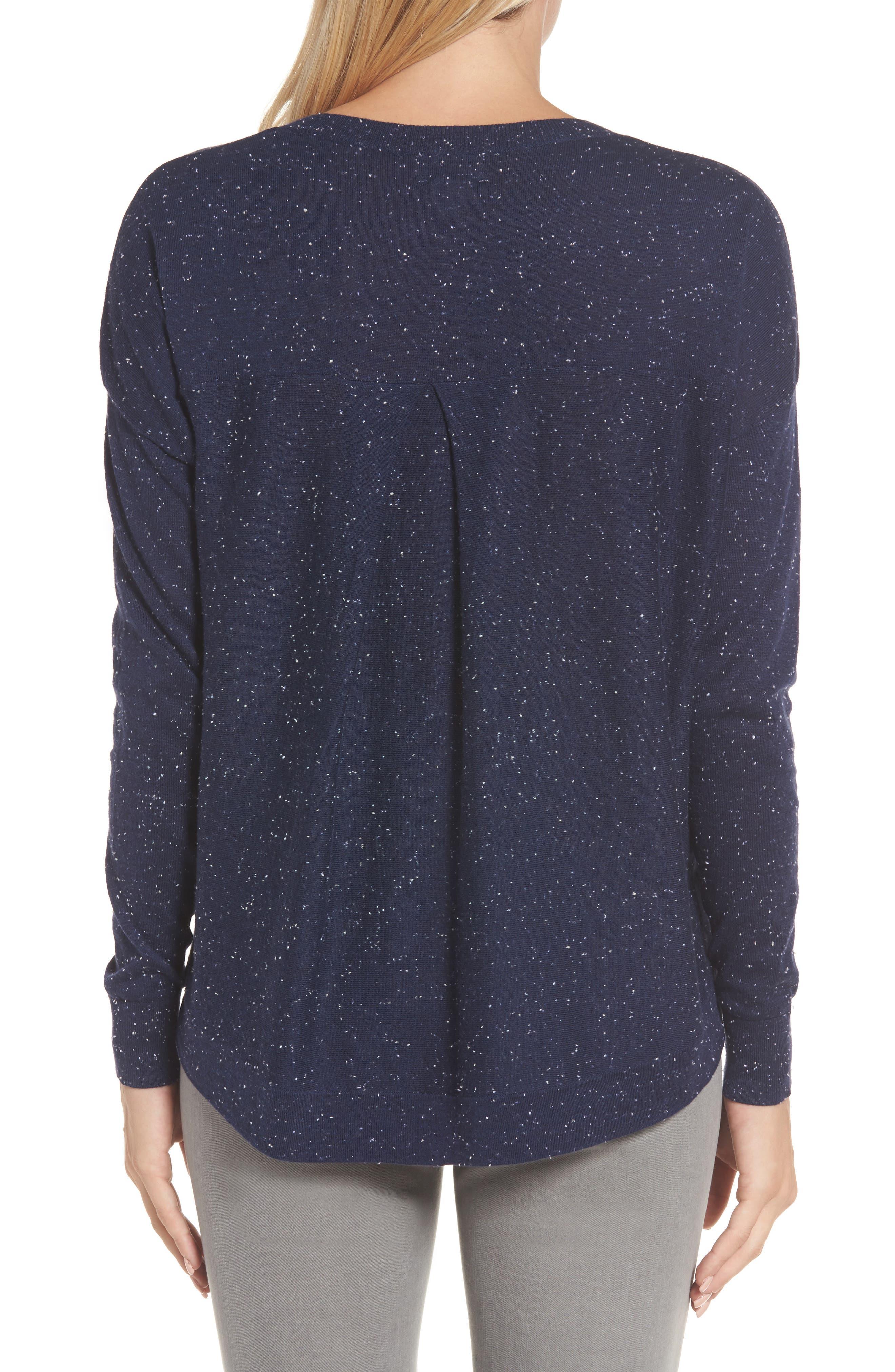 Alternate Image 2  - Caslon® Pleat Back High/Low Crewneck Sweater (Regular & Petite)