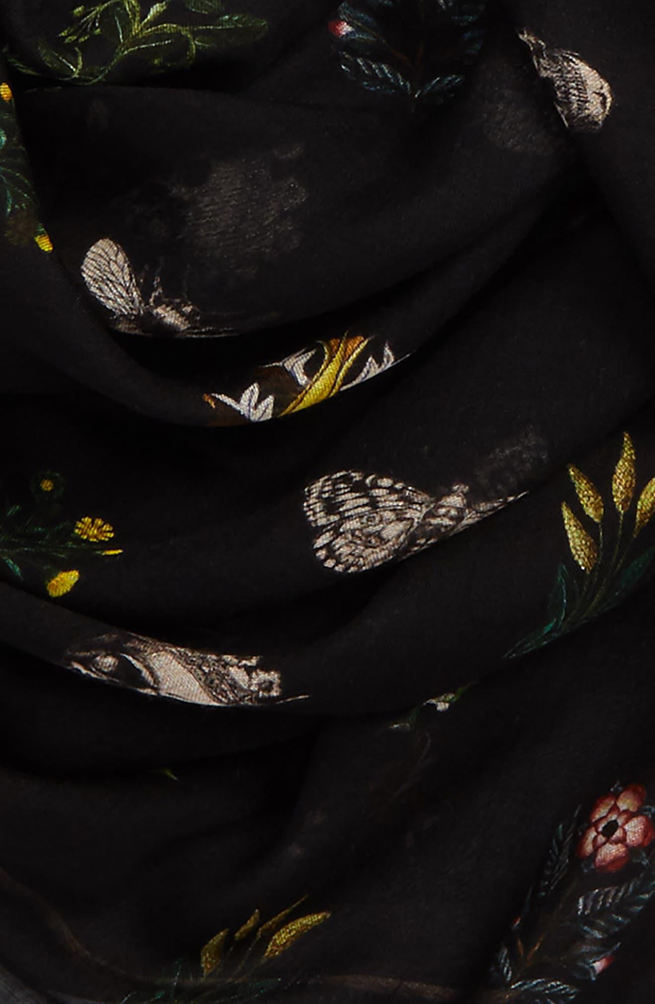 Medieval Flower Pashmina,                             Alternate thumbnail 3, color,                             Black
