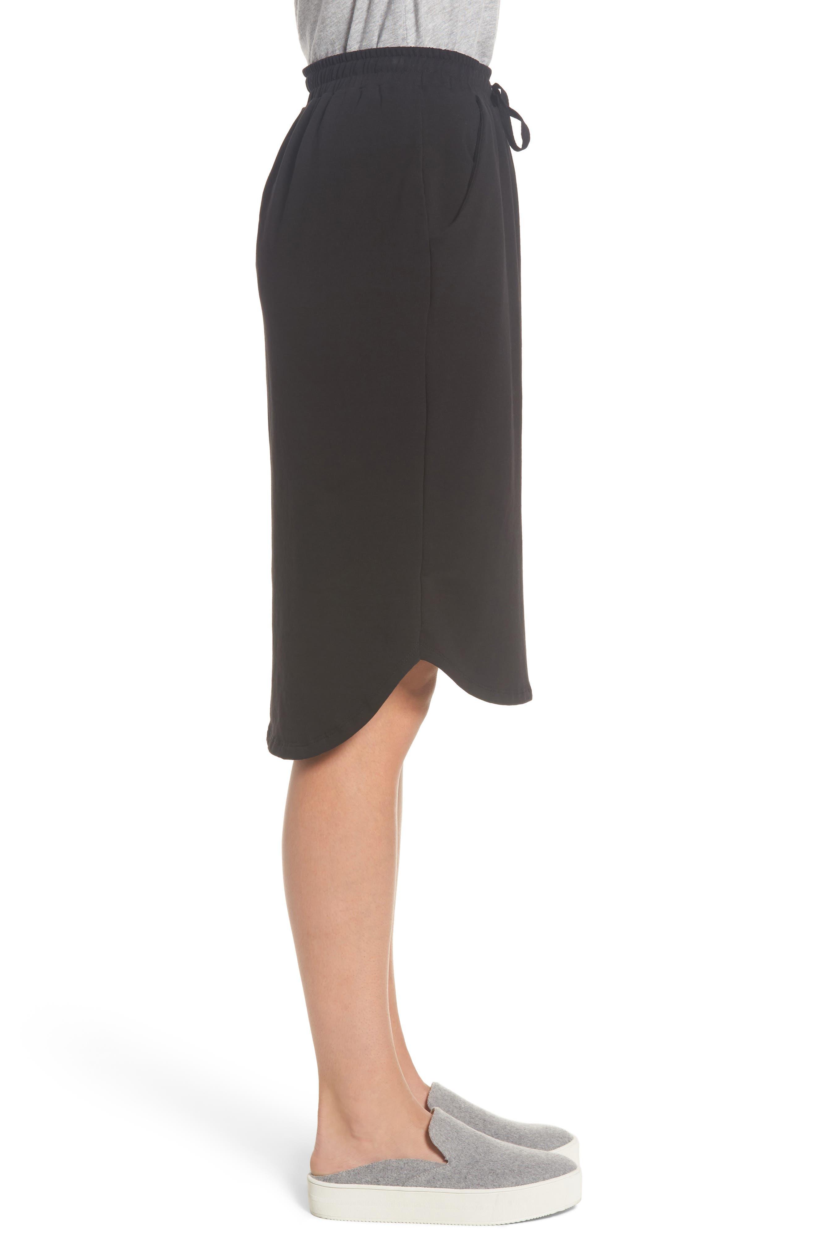 Jogger Stretch Midi Skirt,                             Alternate thumbnail 3, color,                             Black
