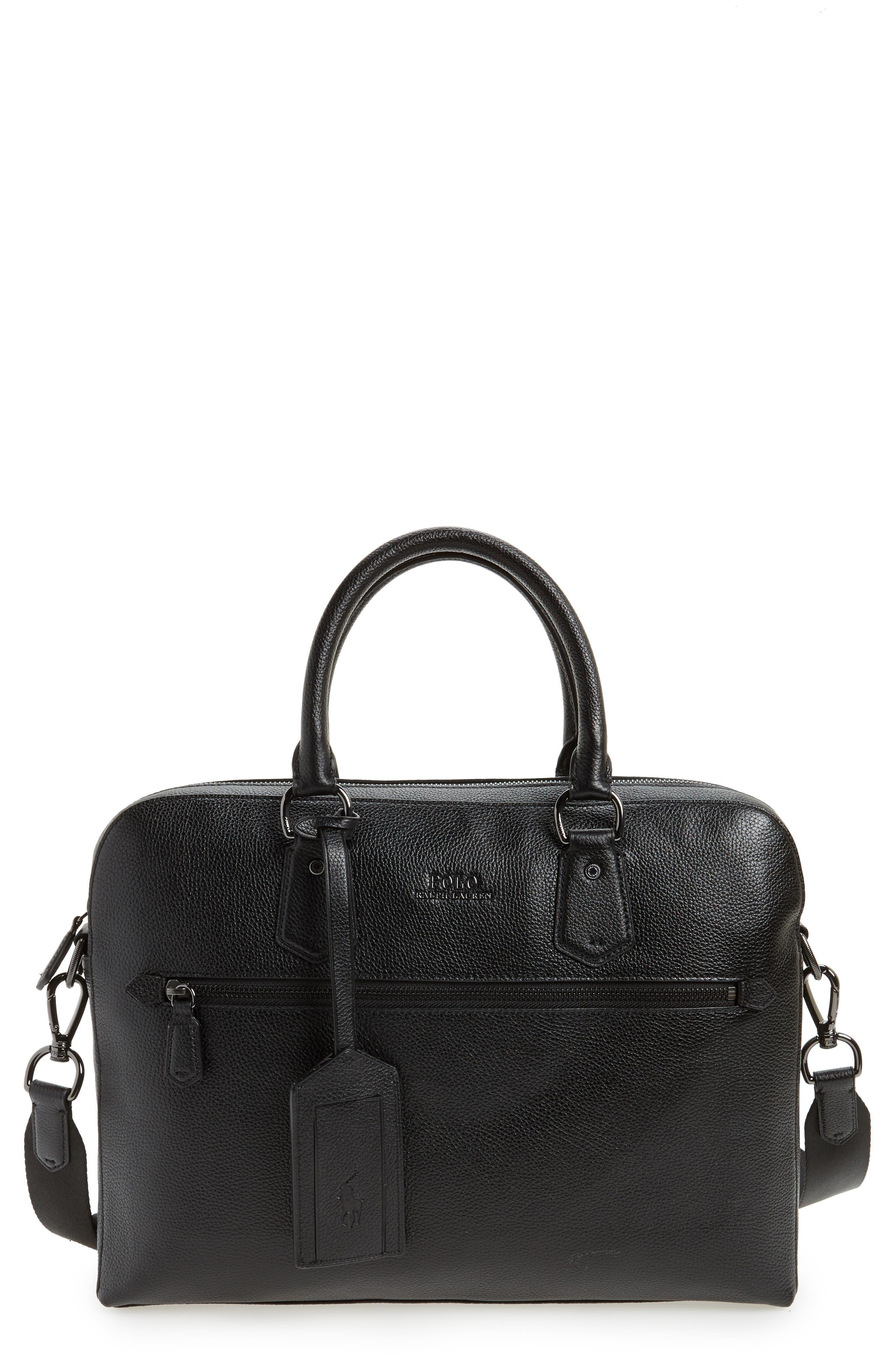 Commuter Leather Briefcase,                             Main thumbnail 1, color,                             Black