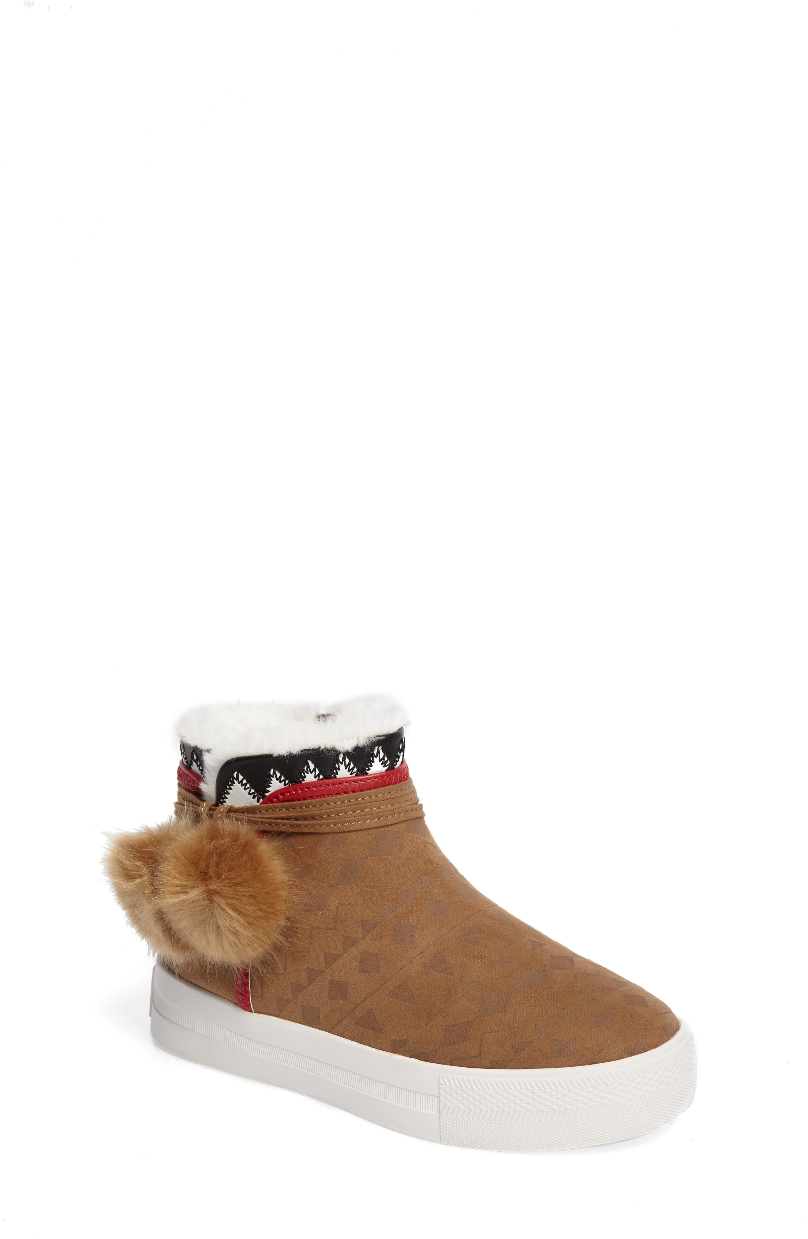 Alternate Image 1 Selected - Ash Lynn Faux Fur Pom Sneaker Boot (Toddler, Little Kid & Big Kid)