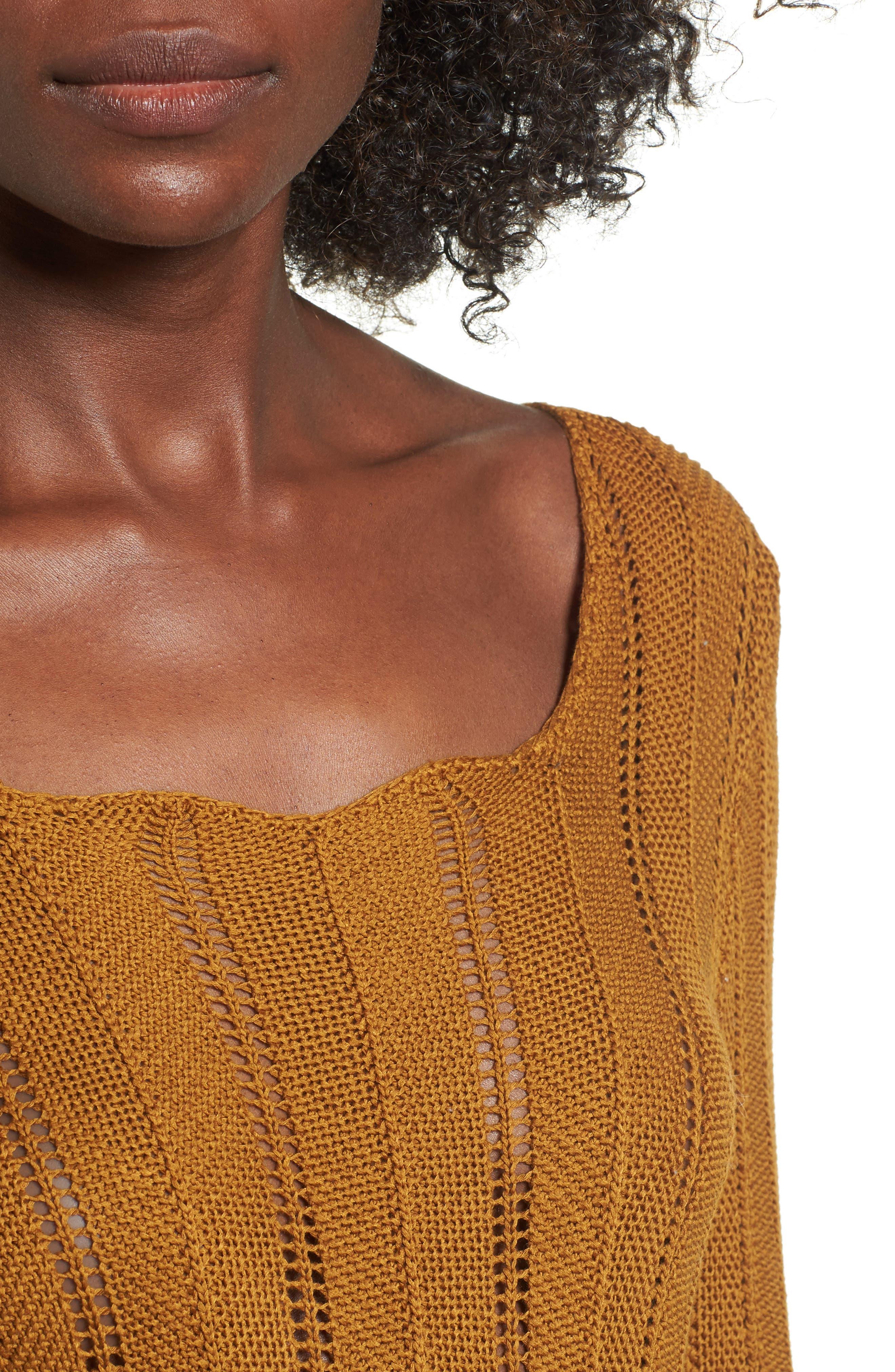 Robbie Tie Back Sweater,                             Alternate thumbnail 4, color,                             Rust