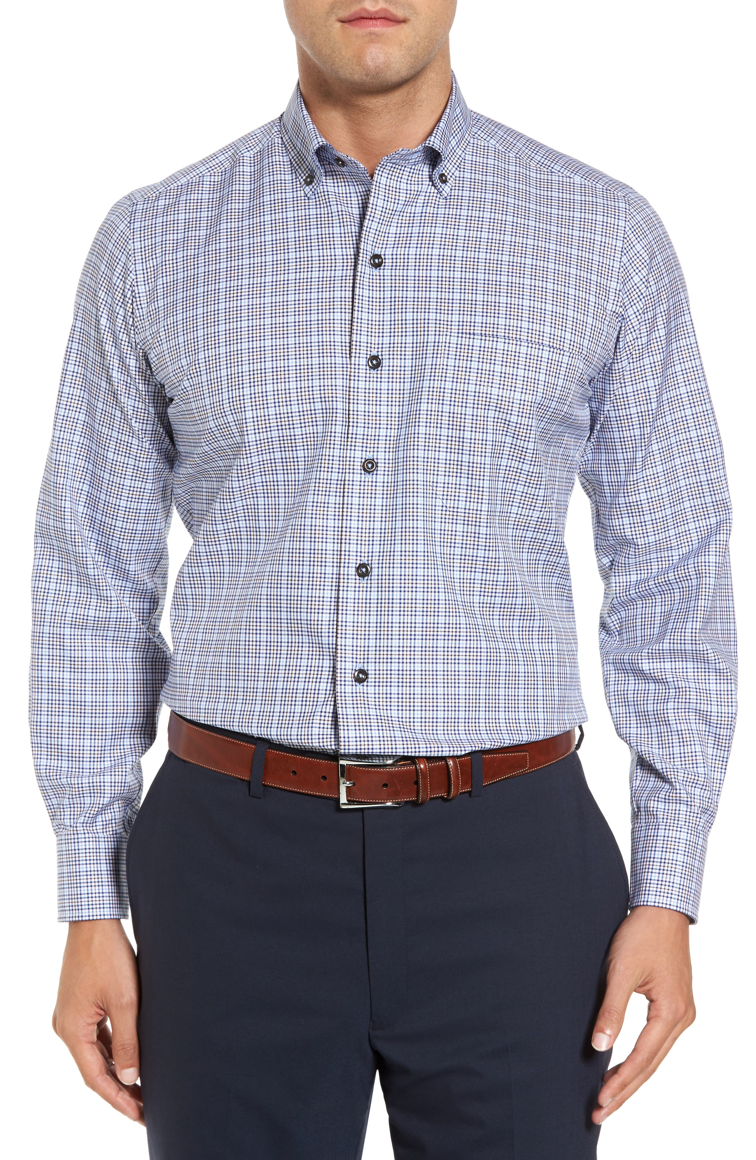 Main Image - David Donahue Regular Fit Plaid Sport Shirt