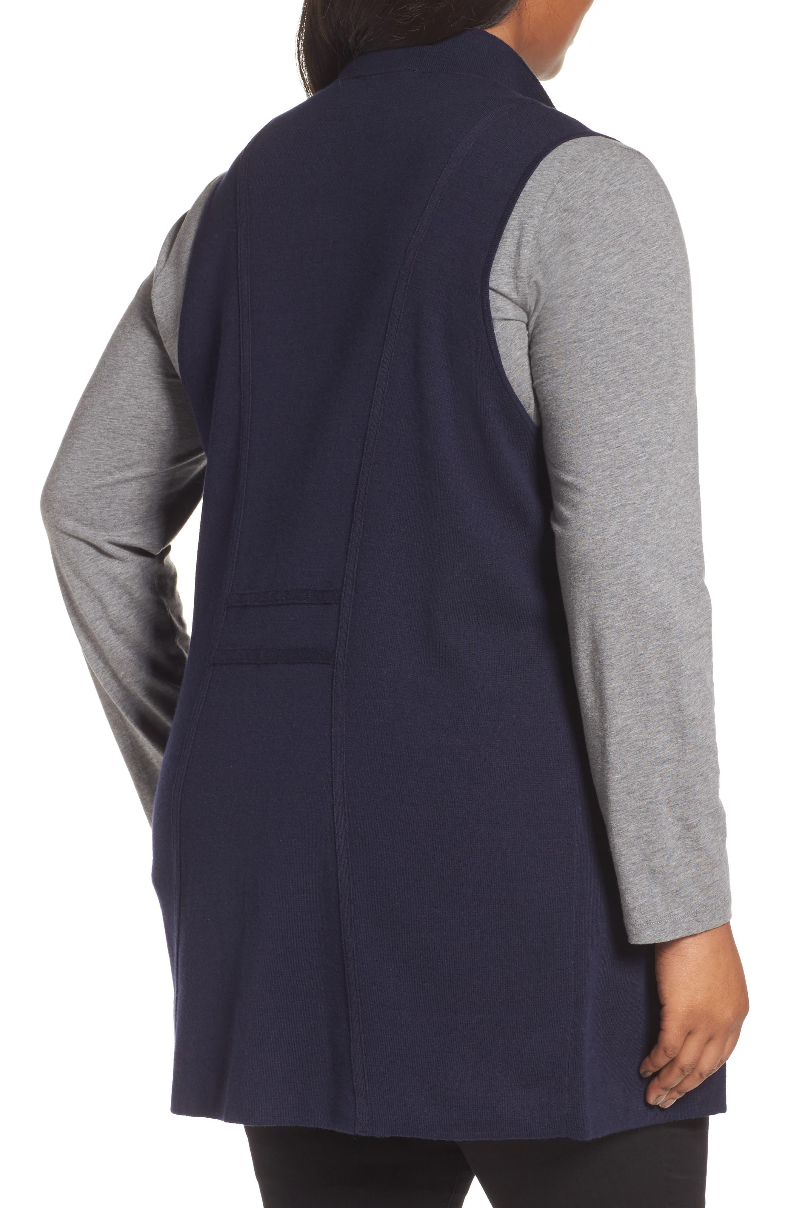 Alternate Image 2  - Foxcroft Jodi Longline Sweater Vest (Plus Size)