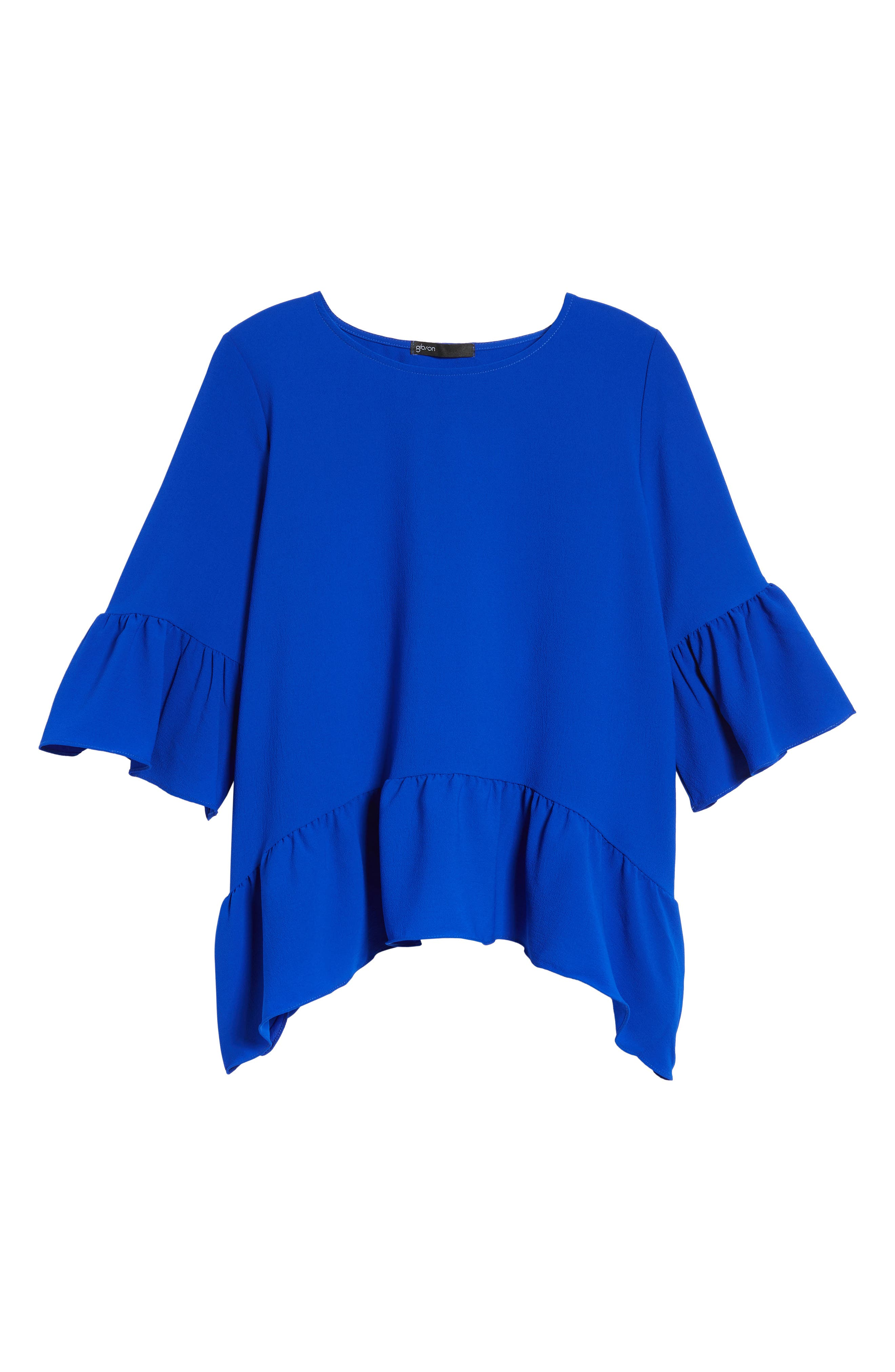 Alternate Image 6  - Gibson Ruffled Handkerchief Hem Top (Regular & Petite)