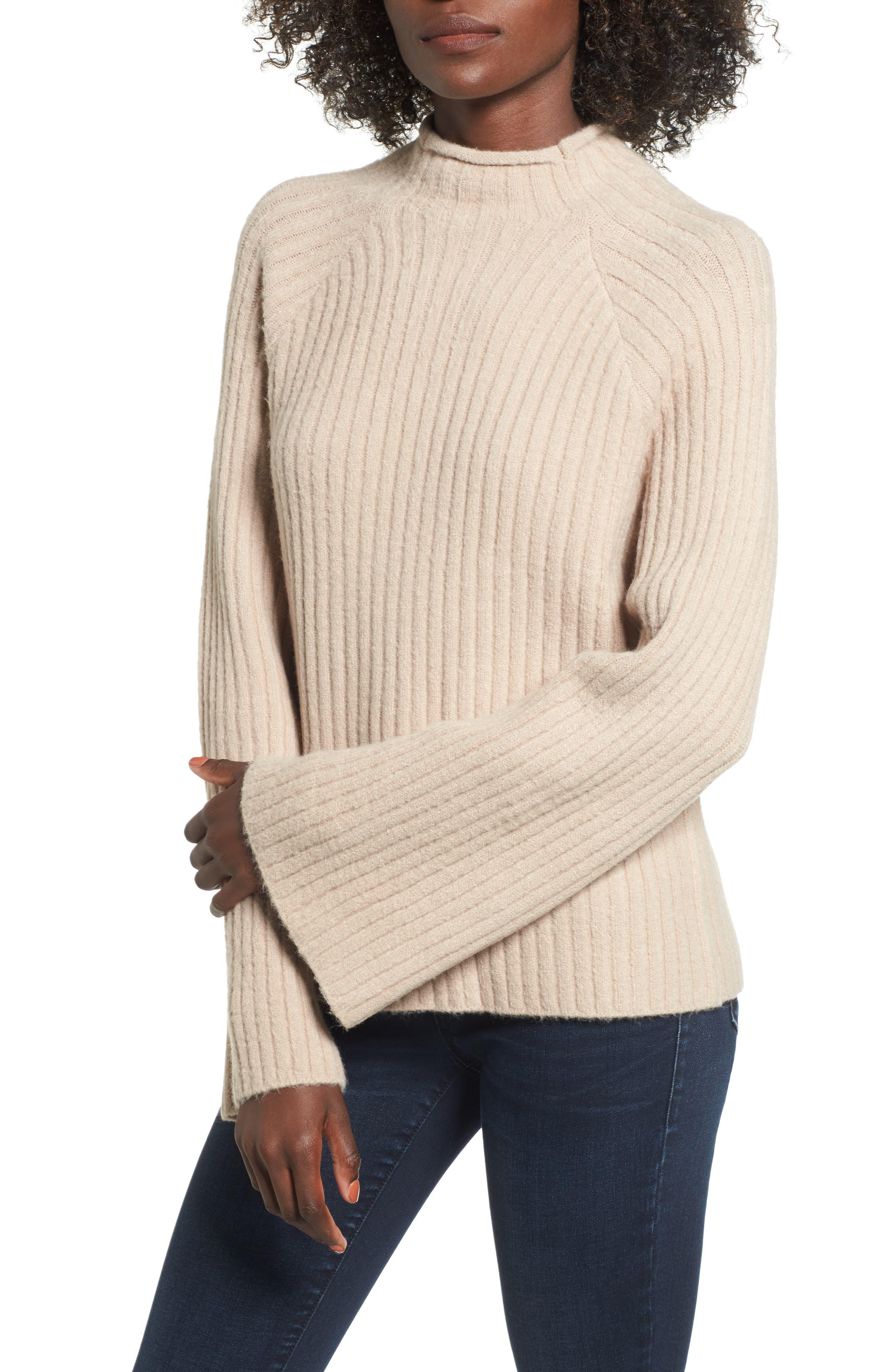 Bell Sleeve Sweater,                         Main,                         color, Tan Memoir