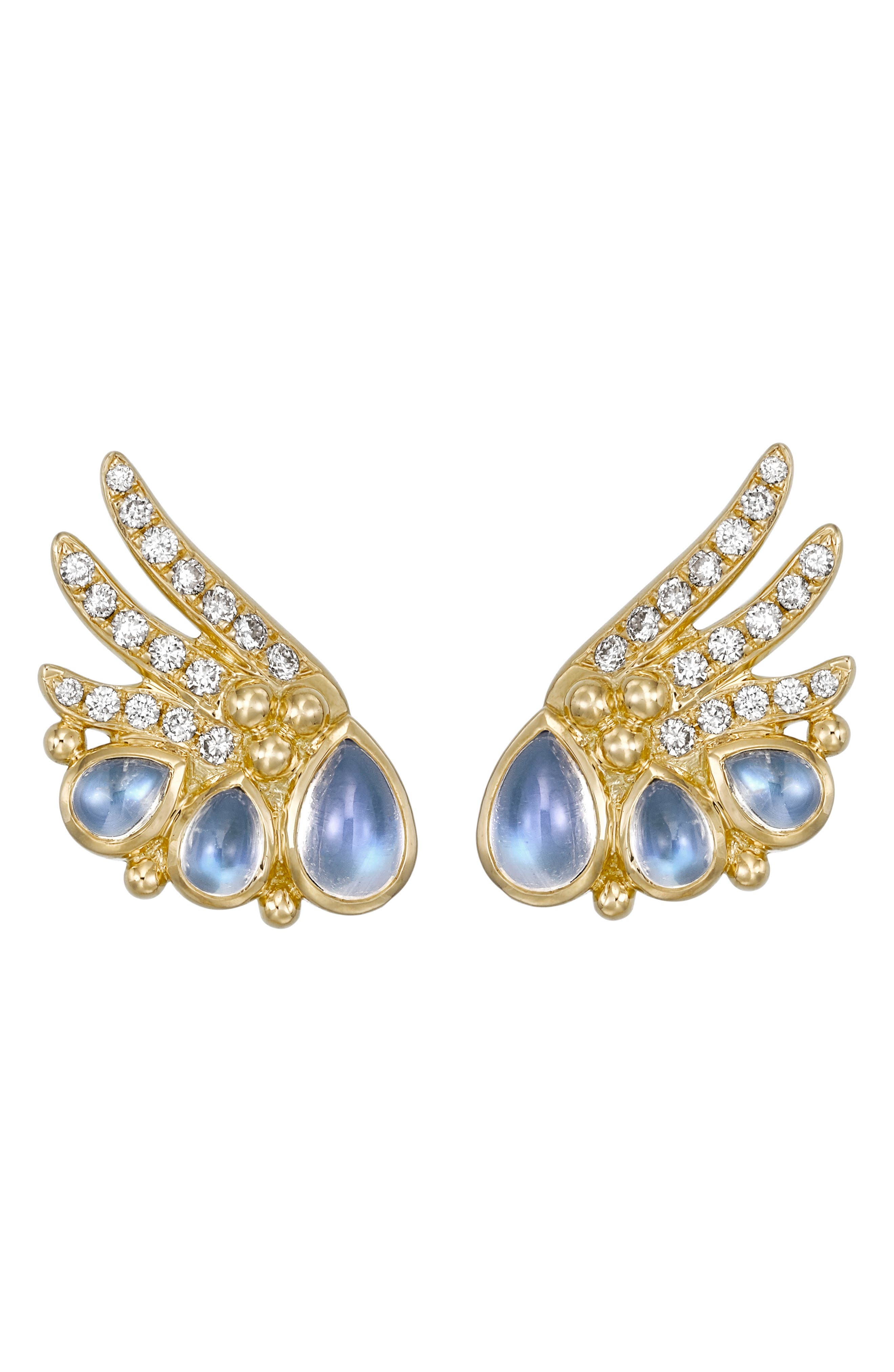 Temple St. Clair Object Trouvé Diamond Moonstone Earrings