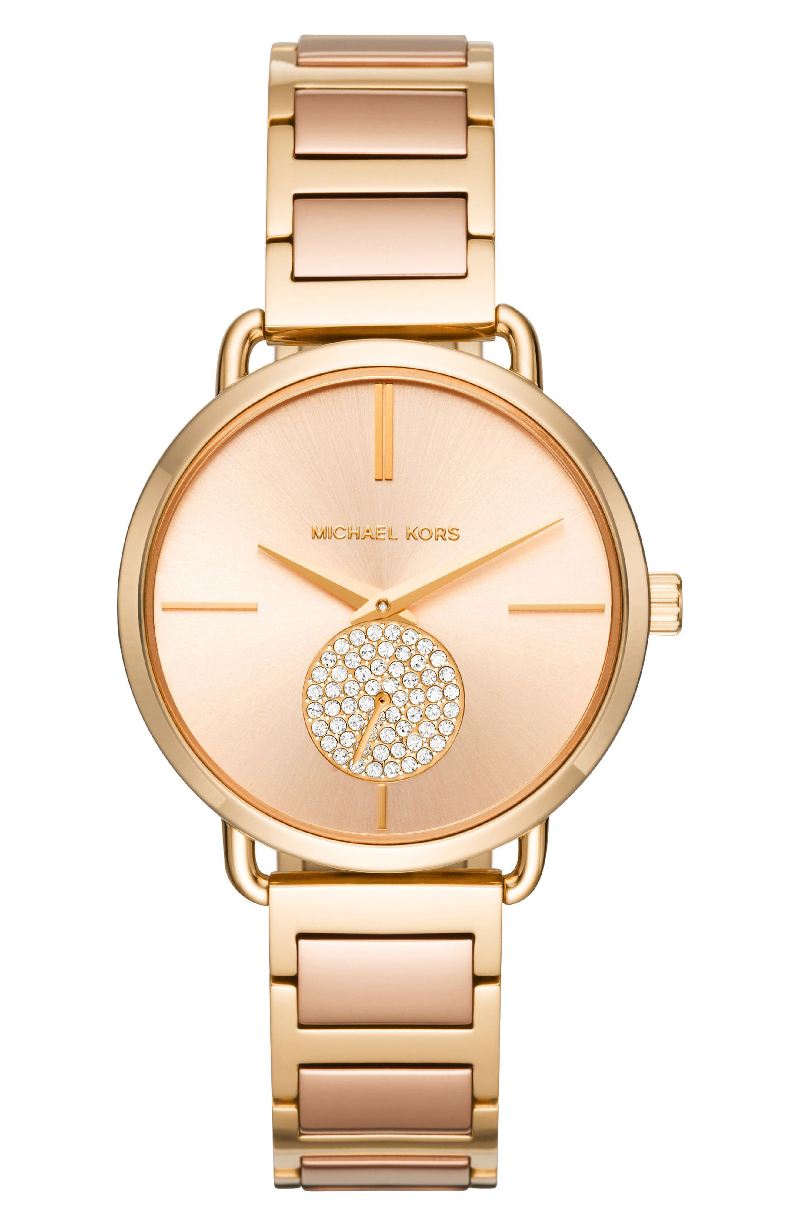 Portia Round Bracelet Watch, 36.5mm,                             Main thumbnail 1, color,                             Gold/ Rose Gold/ Gold