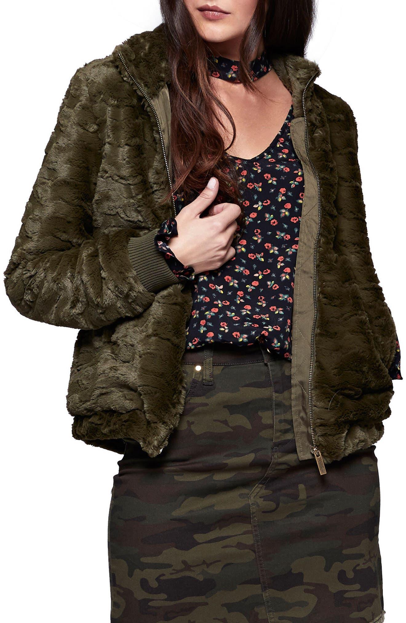 Faux Fur Bomber Jacket,                         Main,                         color, Fatigue