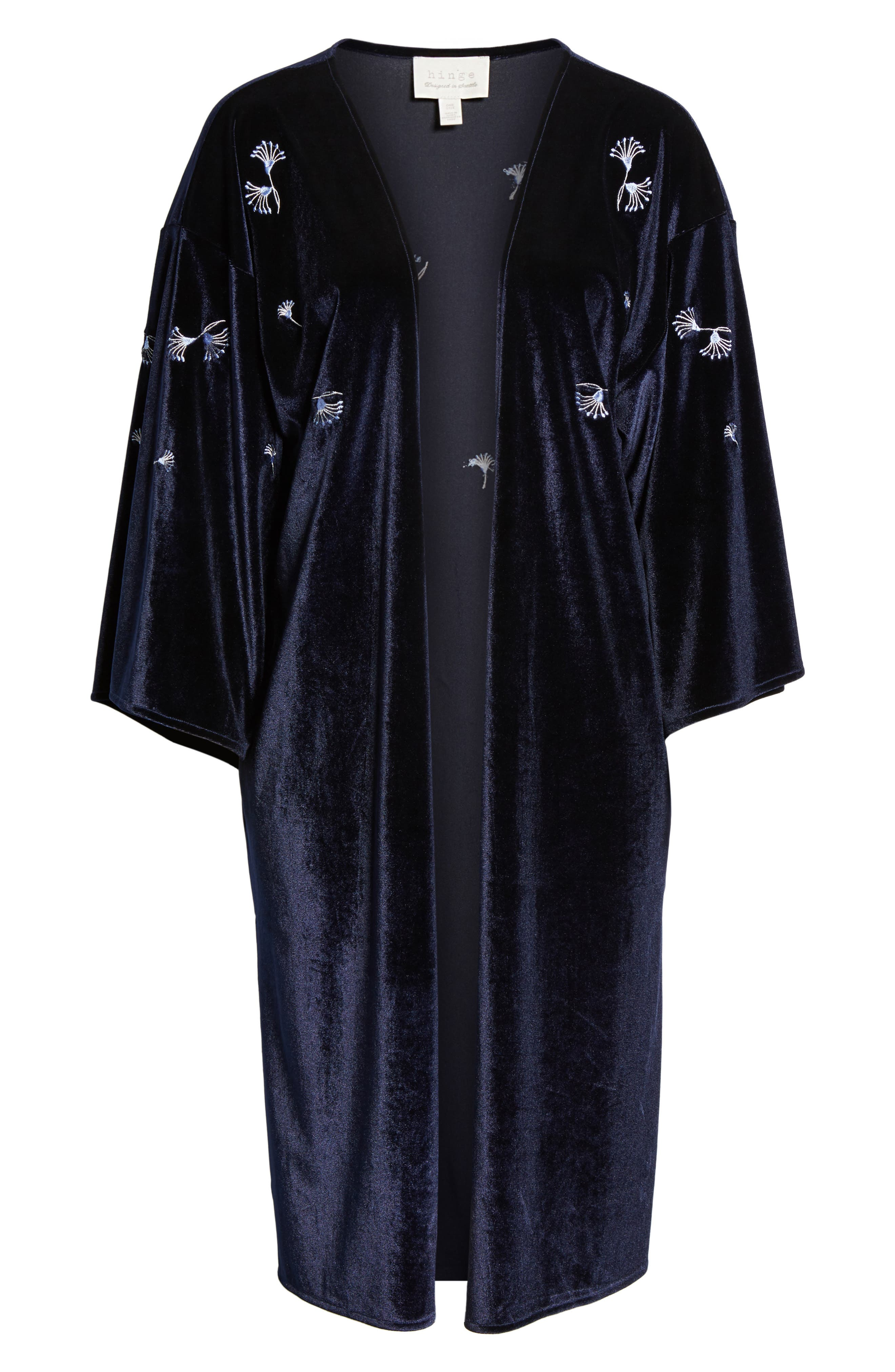 Alternate Image 5  - Treasure & Bond Embroidered Velvet Kimono