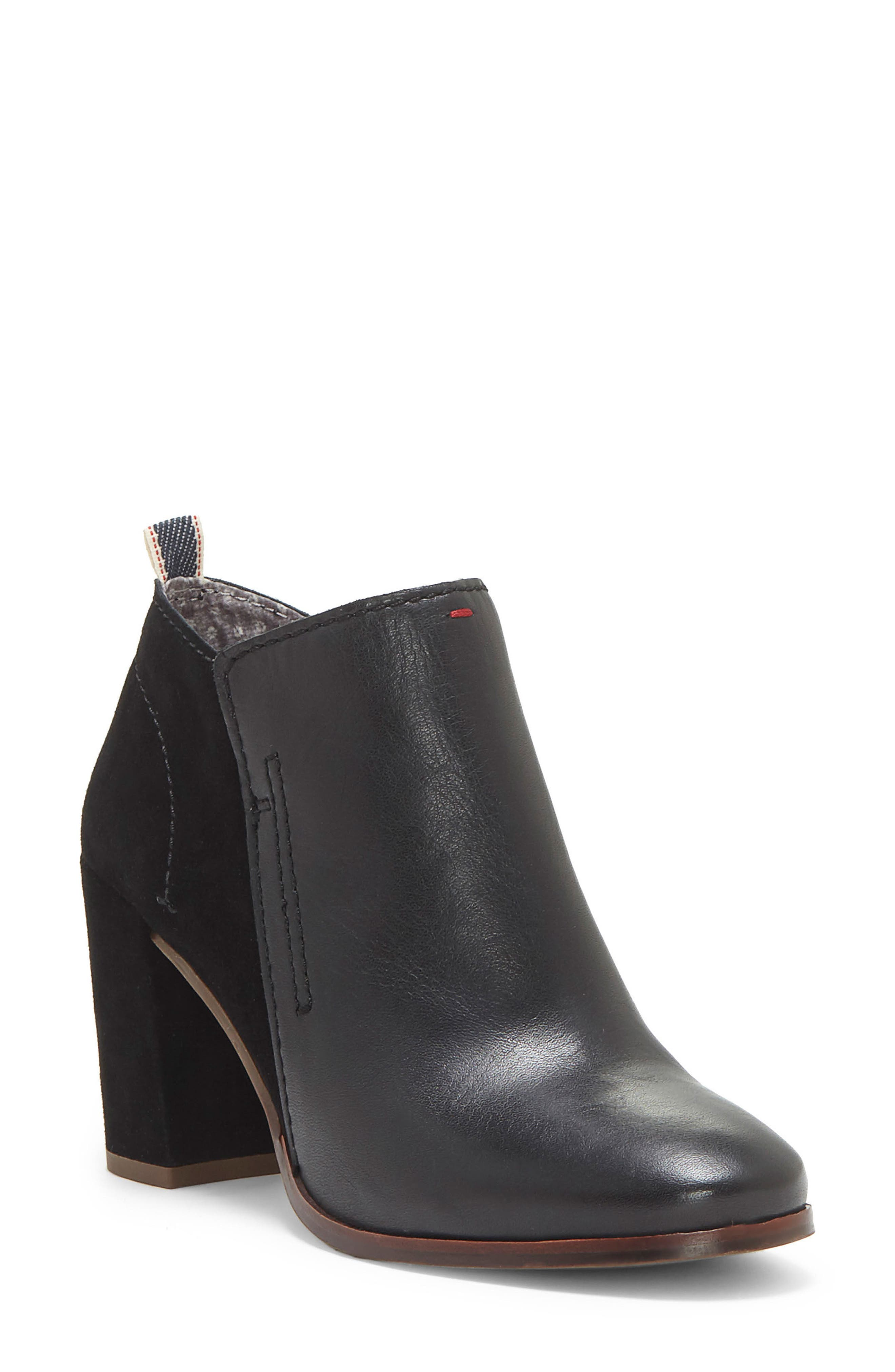 Madeleina Bootie,                         Main,                         color, Black Leather