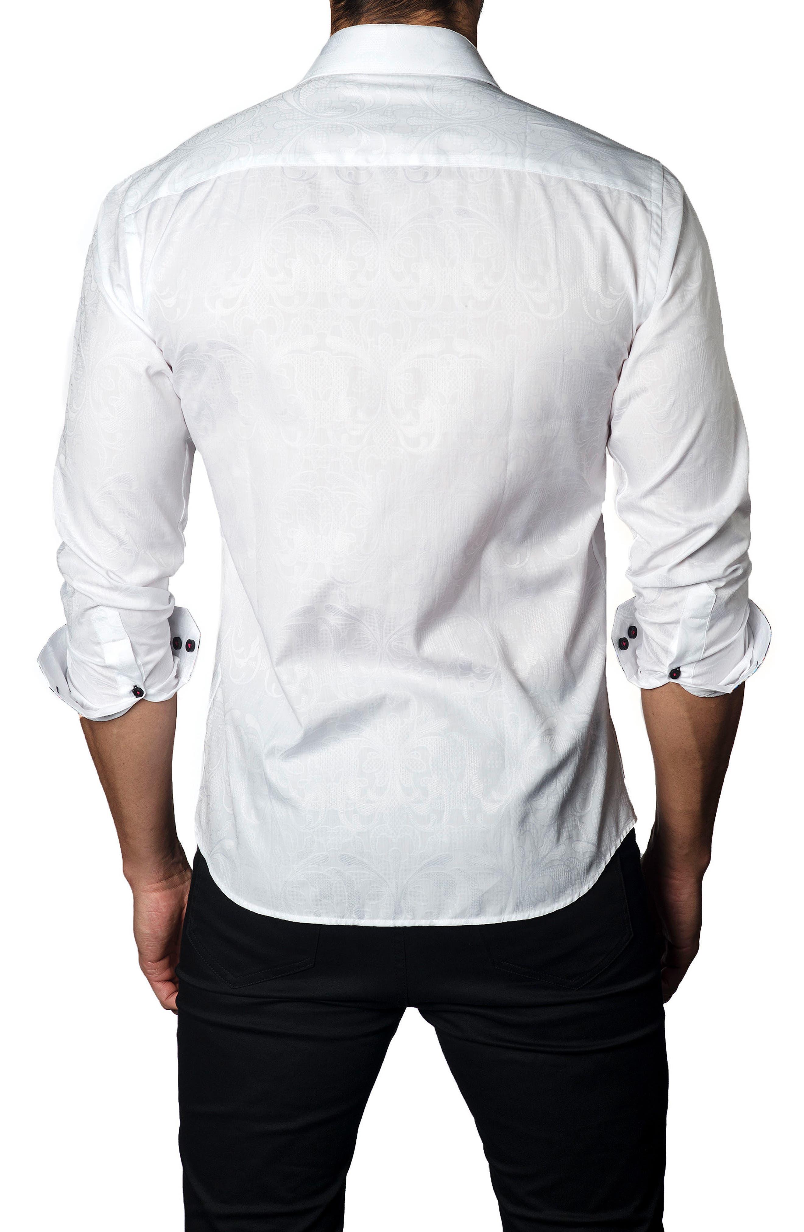 Trim Fit Jacquard Sport Shirt,                             Alternate thumbnail 2, color,                             White Jacquard