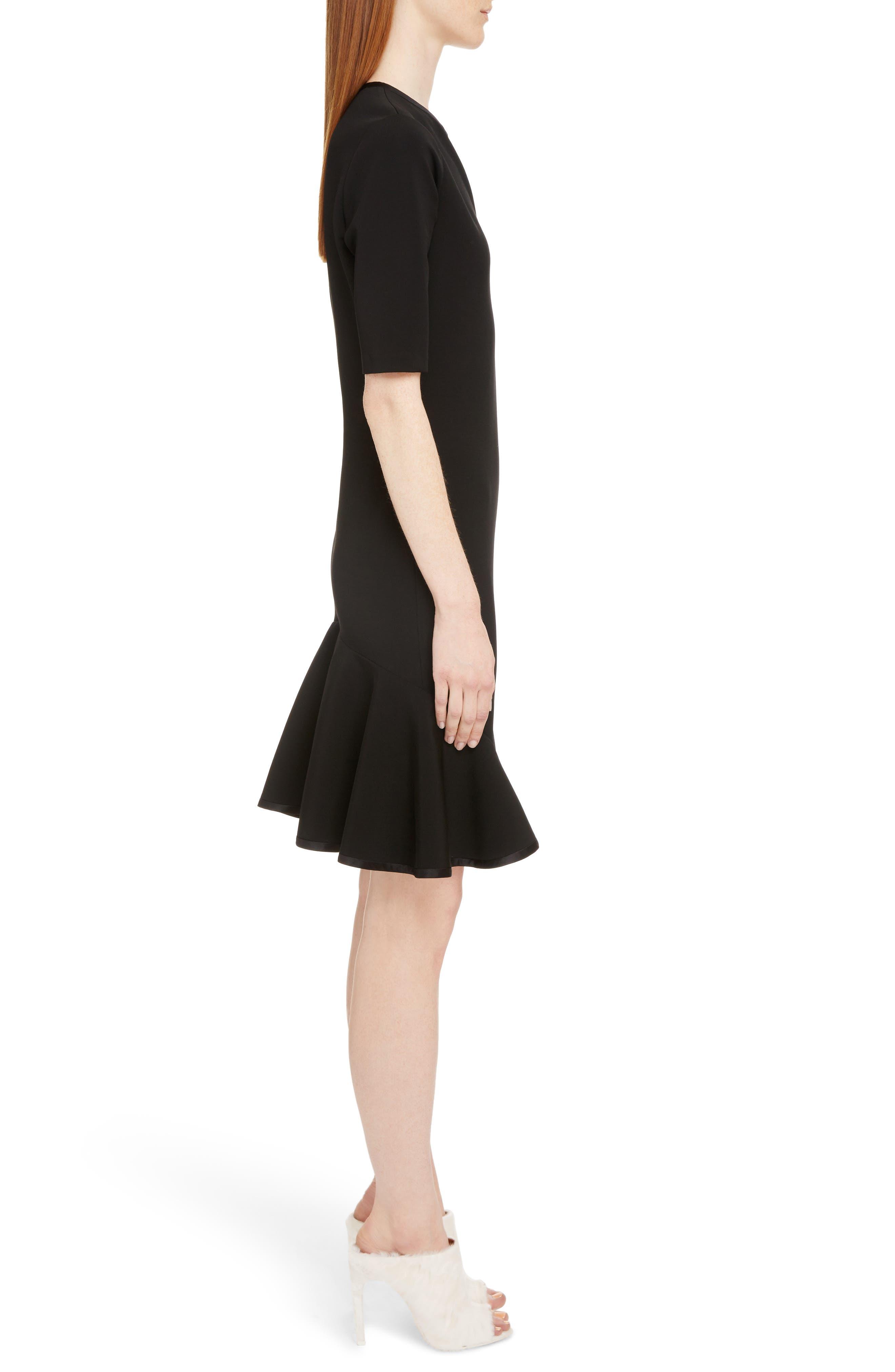 Split Neck Punto Milano Dress,                             Alternate thumbnail 3, color,                             Black