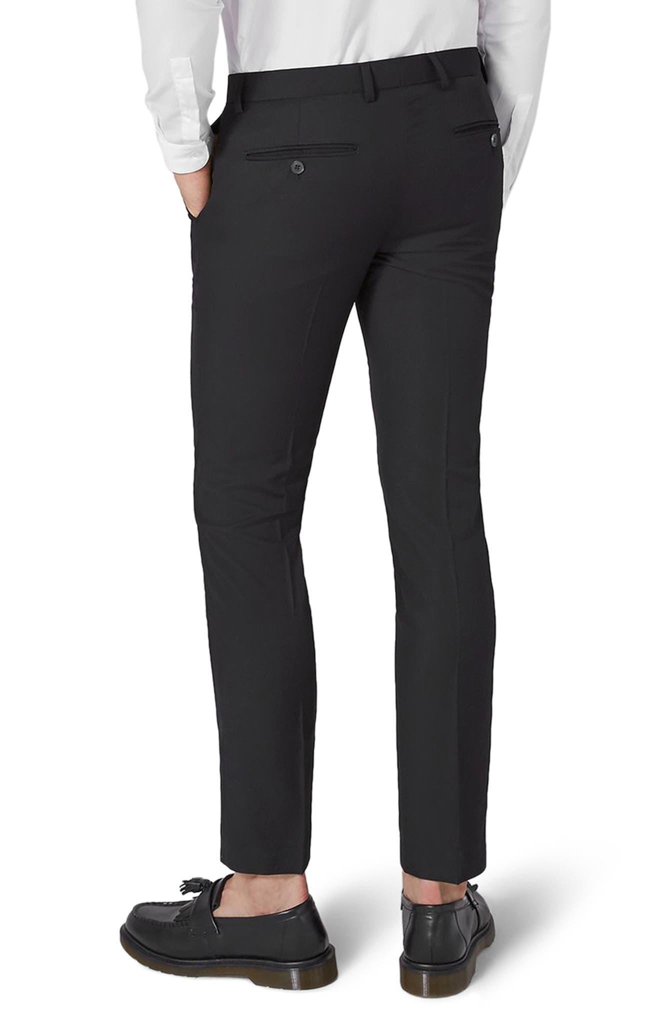 Black Skinny Fit Trousers,                             Alternate thumbnail 2, color,                             Black