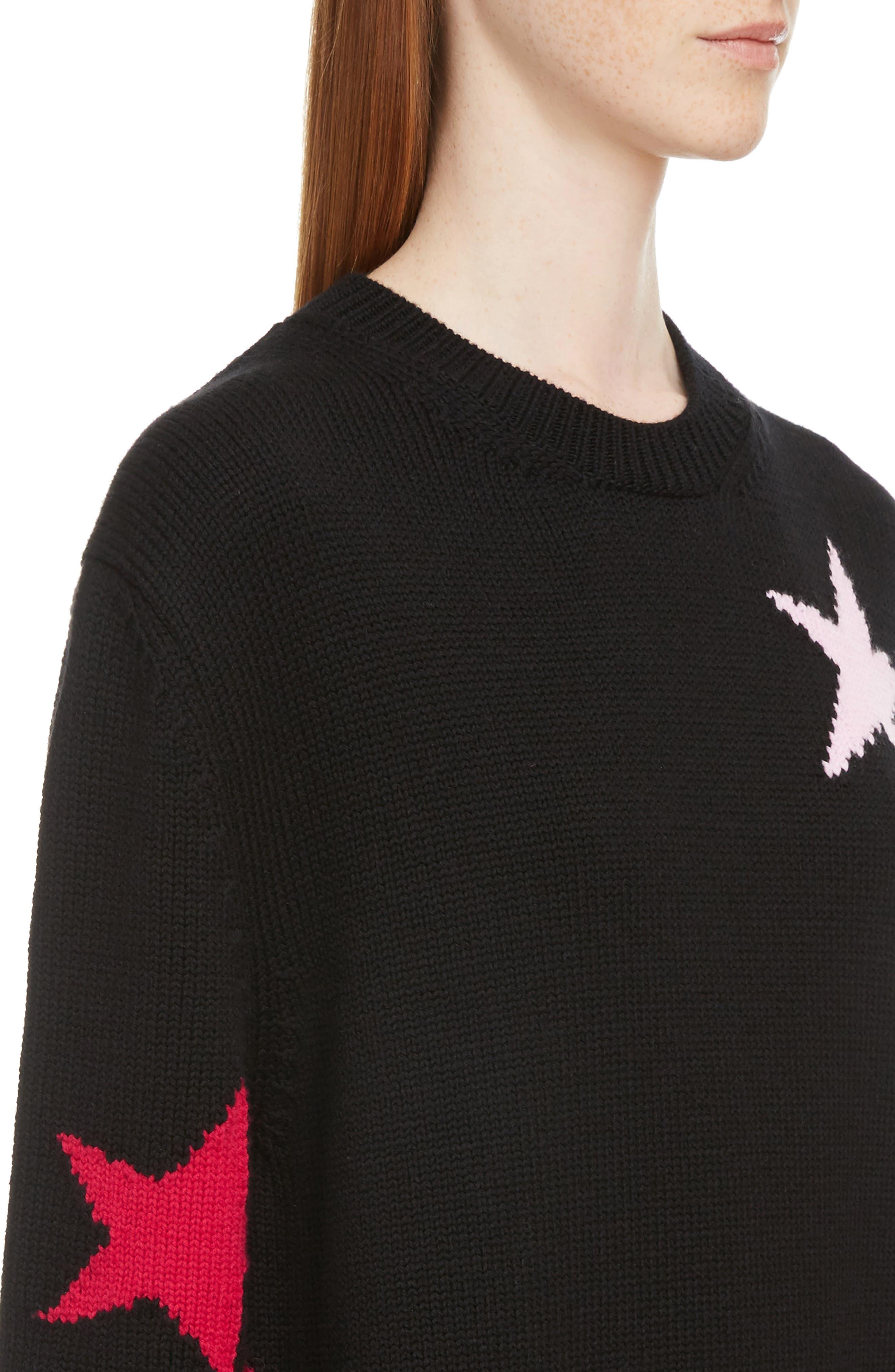 Star Cutout Wool Sweater,                             Alternate thumbnail 4, color,                             Black