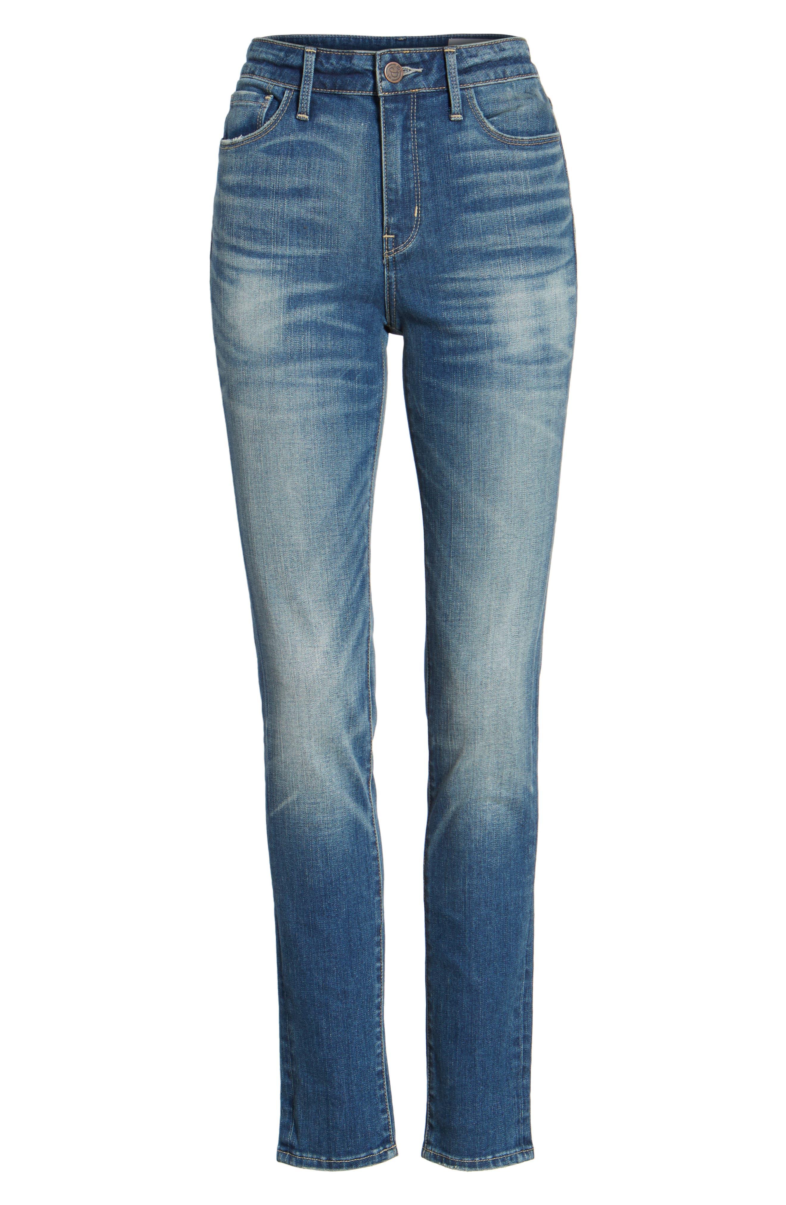 High Waist Skinny Jeans,                             Alternate thumbnail 8, color,                             Rain Medium Worn