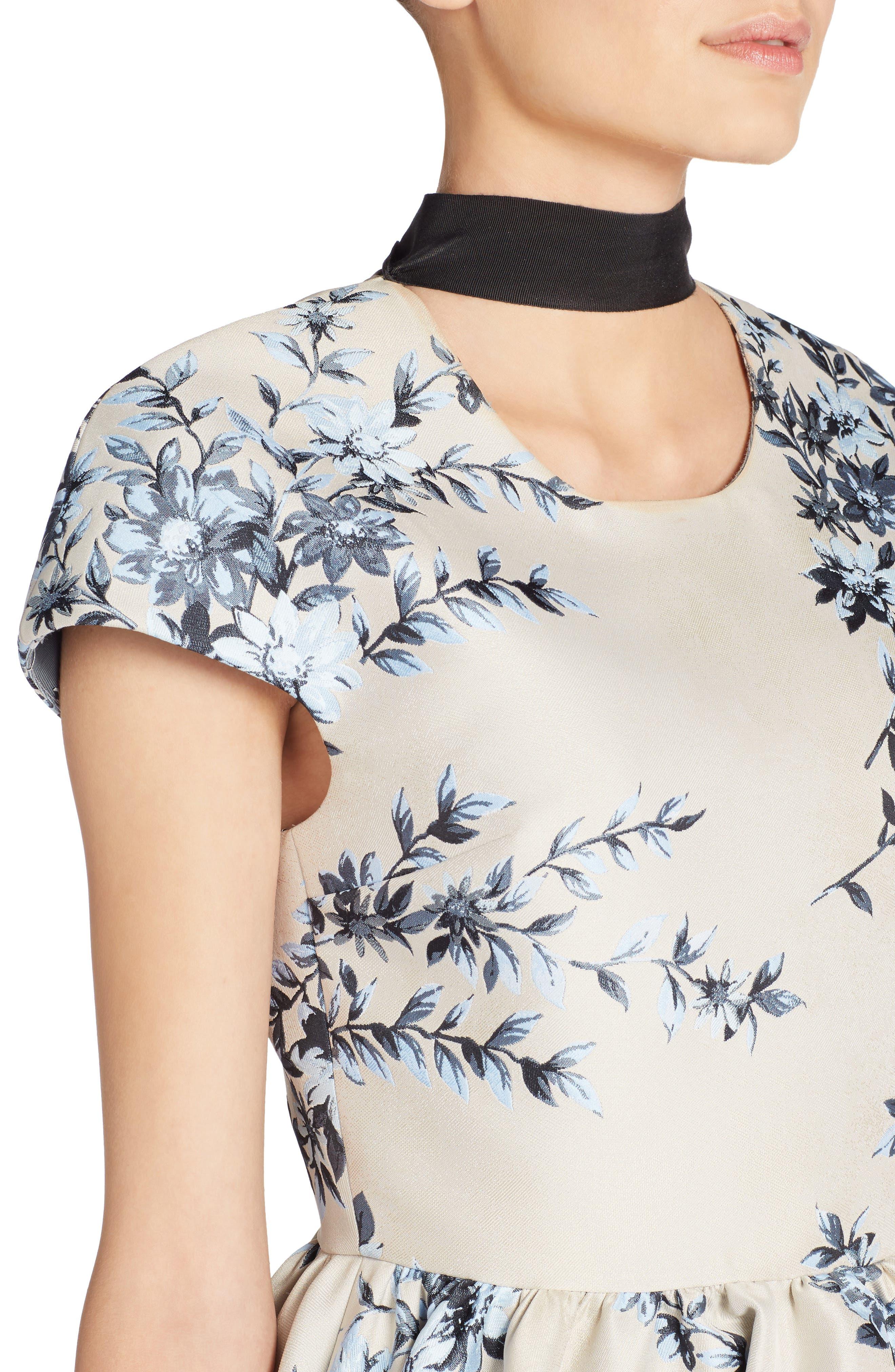Floral Ramage Fit & Flare Dress,                             Alternate thumbnail 4, color,                             Faith Blue