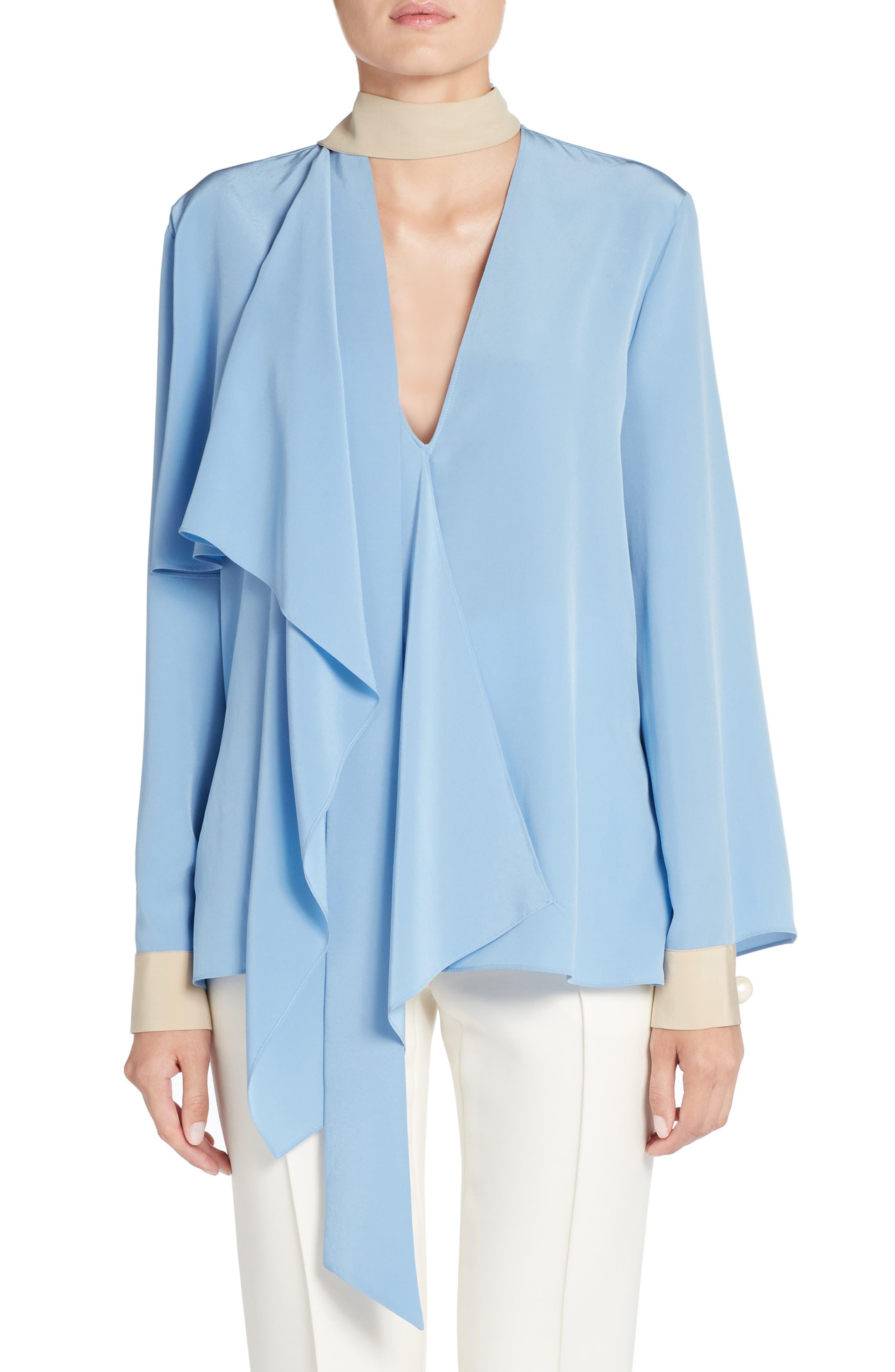 Drape Silk Crêpe de Chine Blouse,                         Main,                         color, Faith Blue