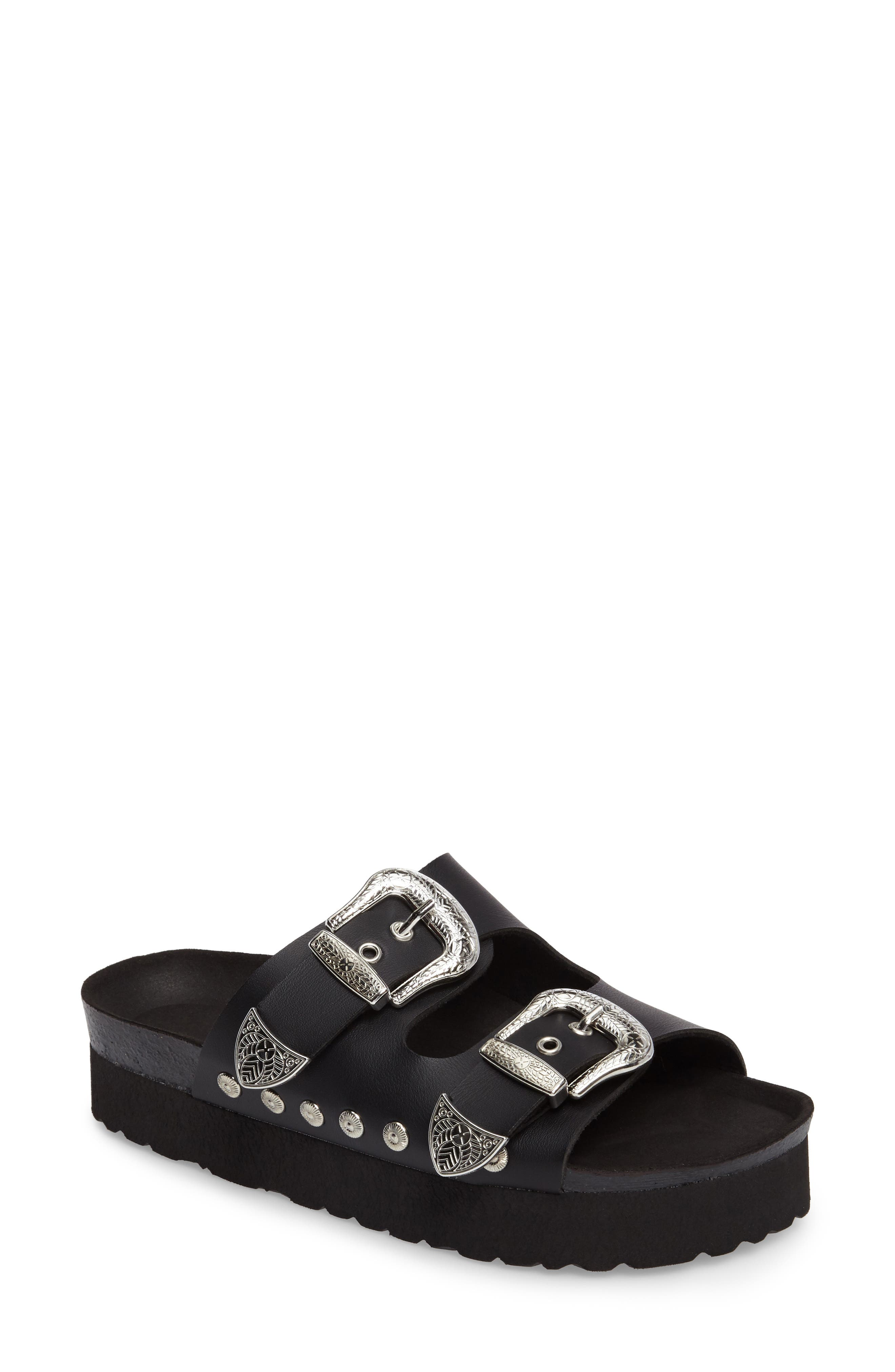 Topshop Fisher Buckled Platform Slide Sandal (Women)