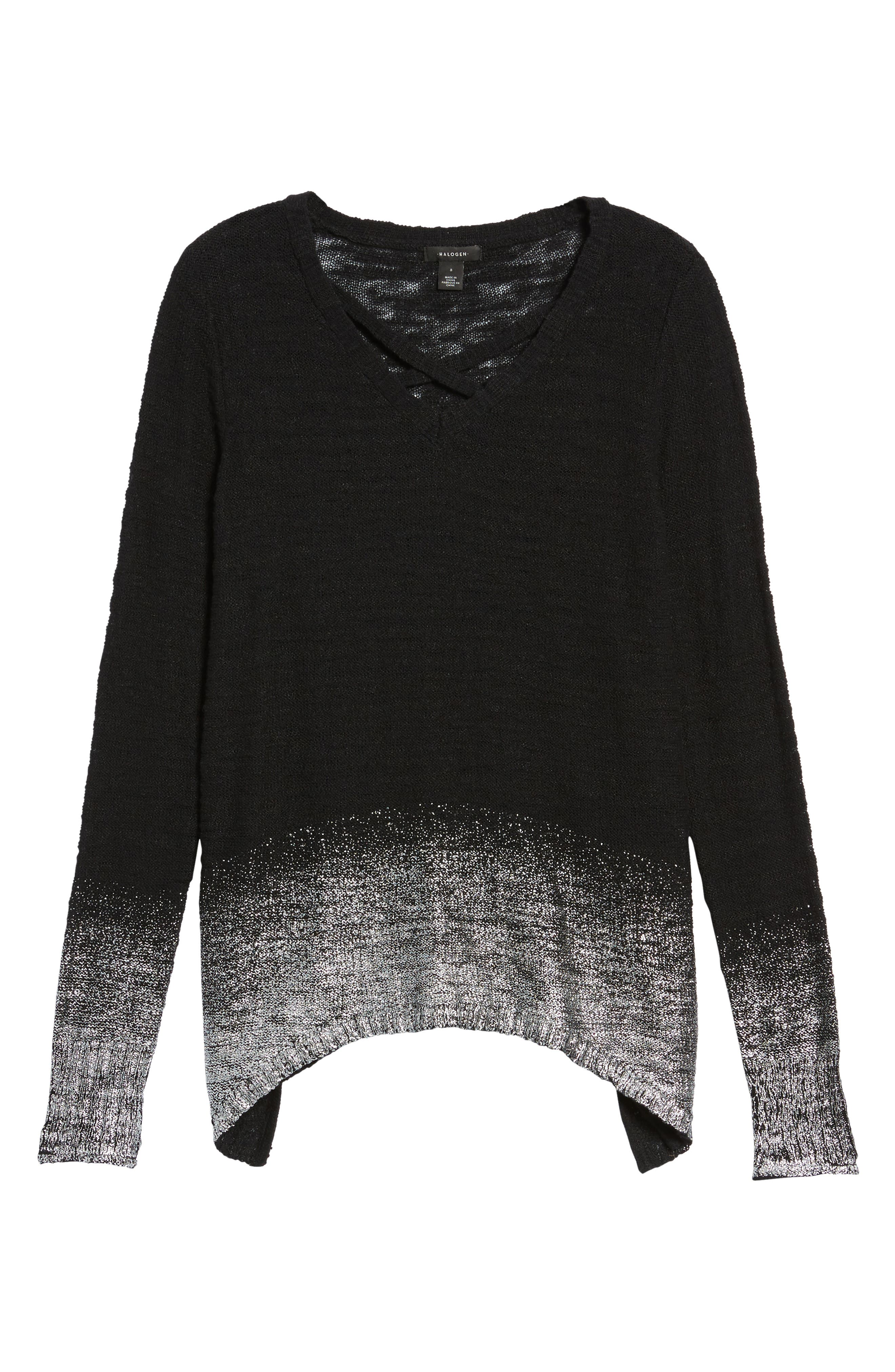 Foil Dipped Sweater,                             Alternate thumbnail 6, color,                             Black Silver