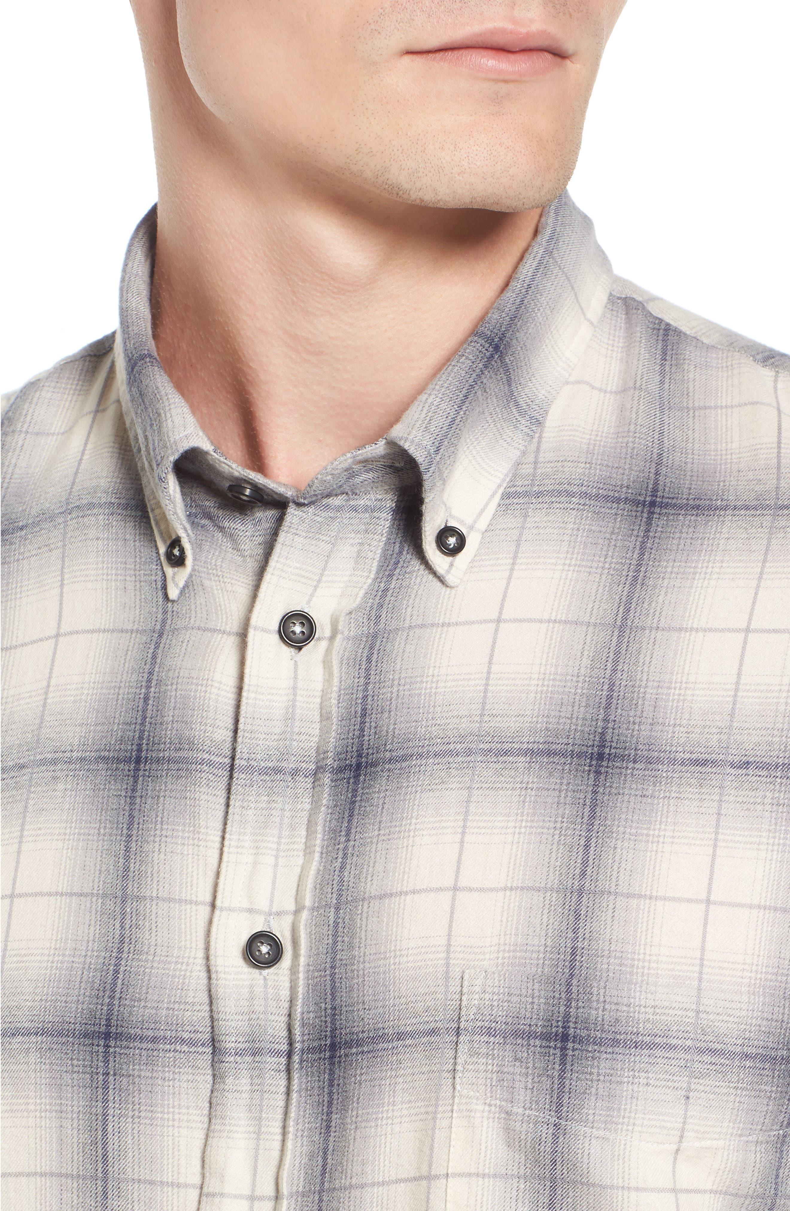 Kirby Slim Fit Plaid Flannel Shirt,                             Alternate thumbnail 4, color,                             Grey/ Blue