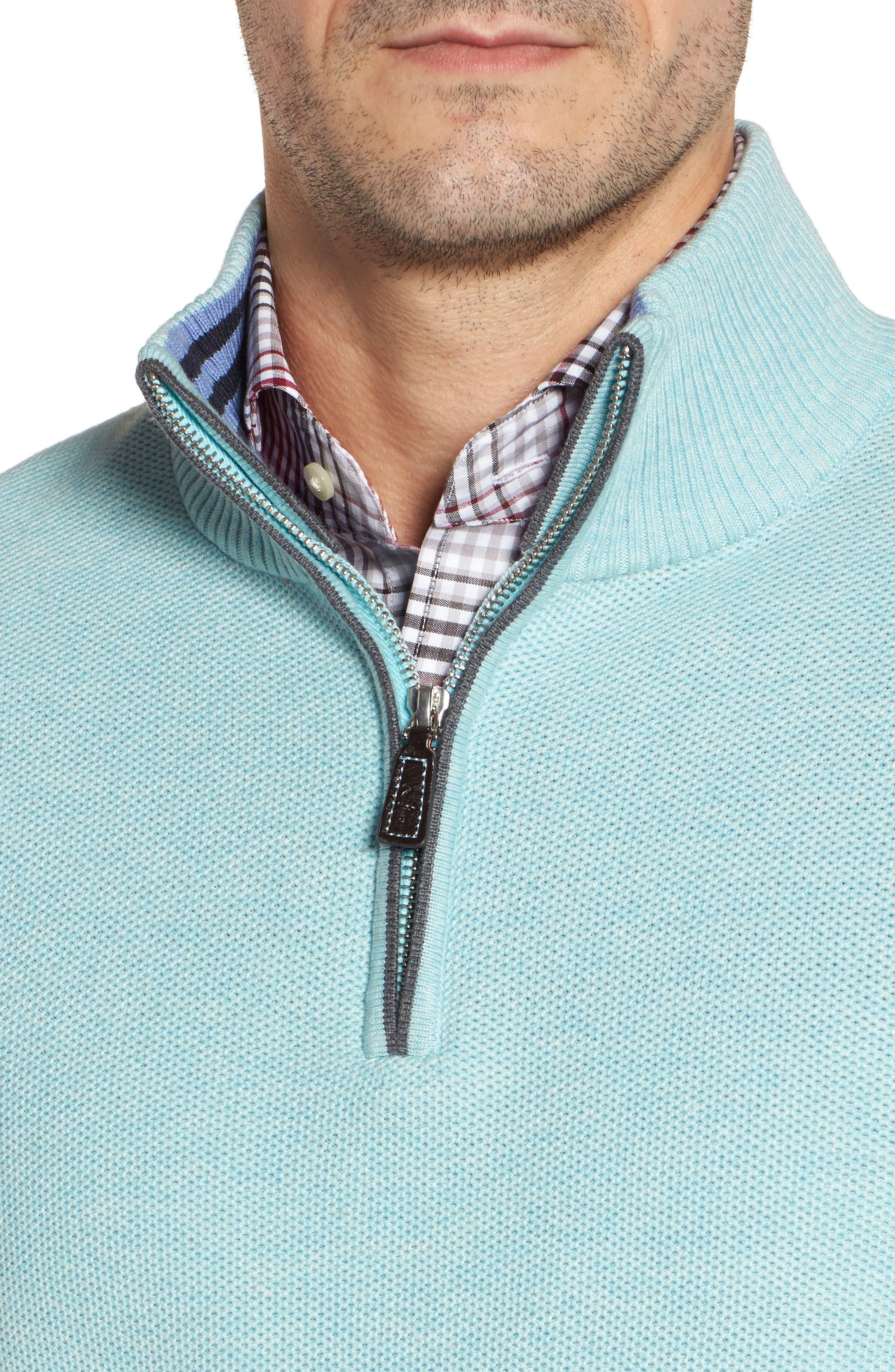 Starks Tipped Quarter Zip Sweater,                             Alternate thumbnail 4, color,                             Aqua