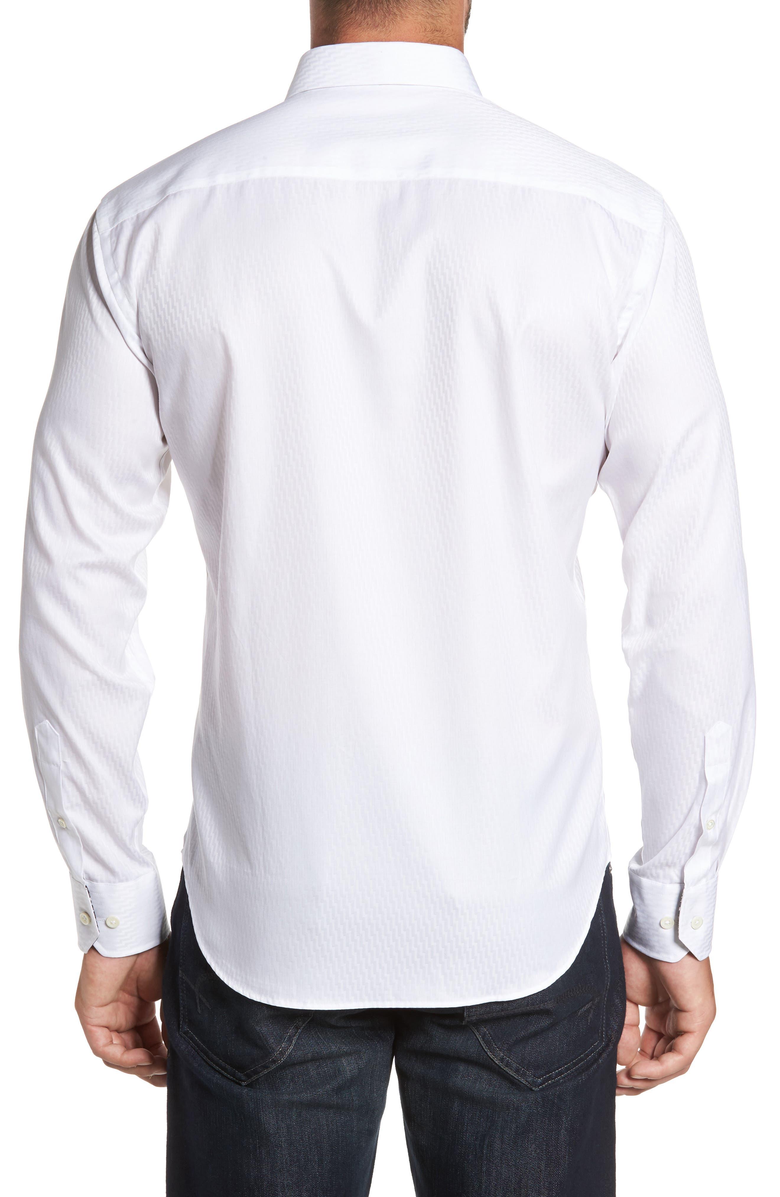 Shaped Fit Print Sport Shirt,                             Alternate thumbnail 2, color,                             White
