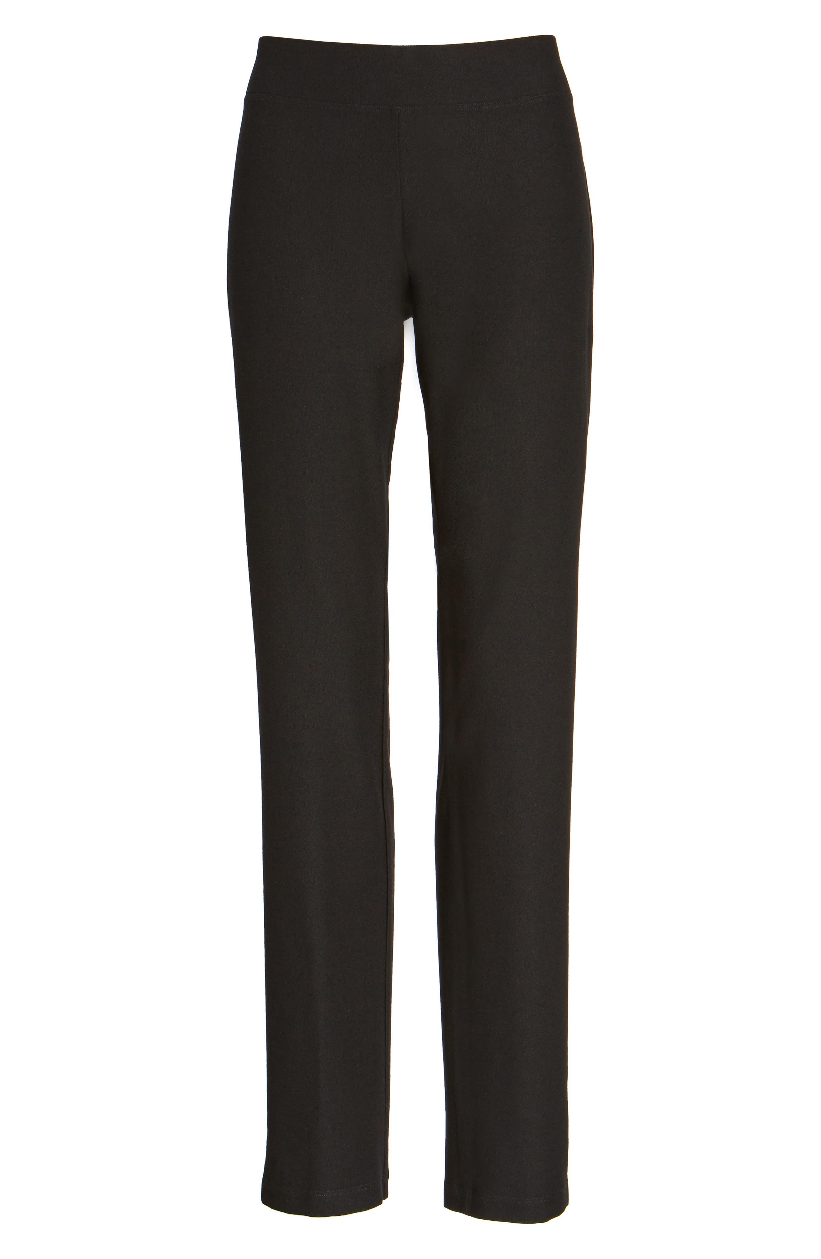Straight Yoke Slim Crepe Knit Pants,                             Alternate thumbnail 4, color,                             Black