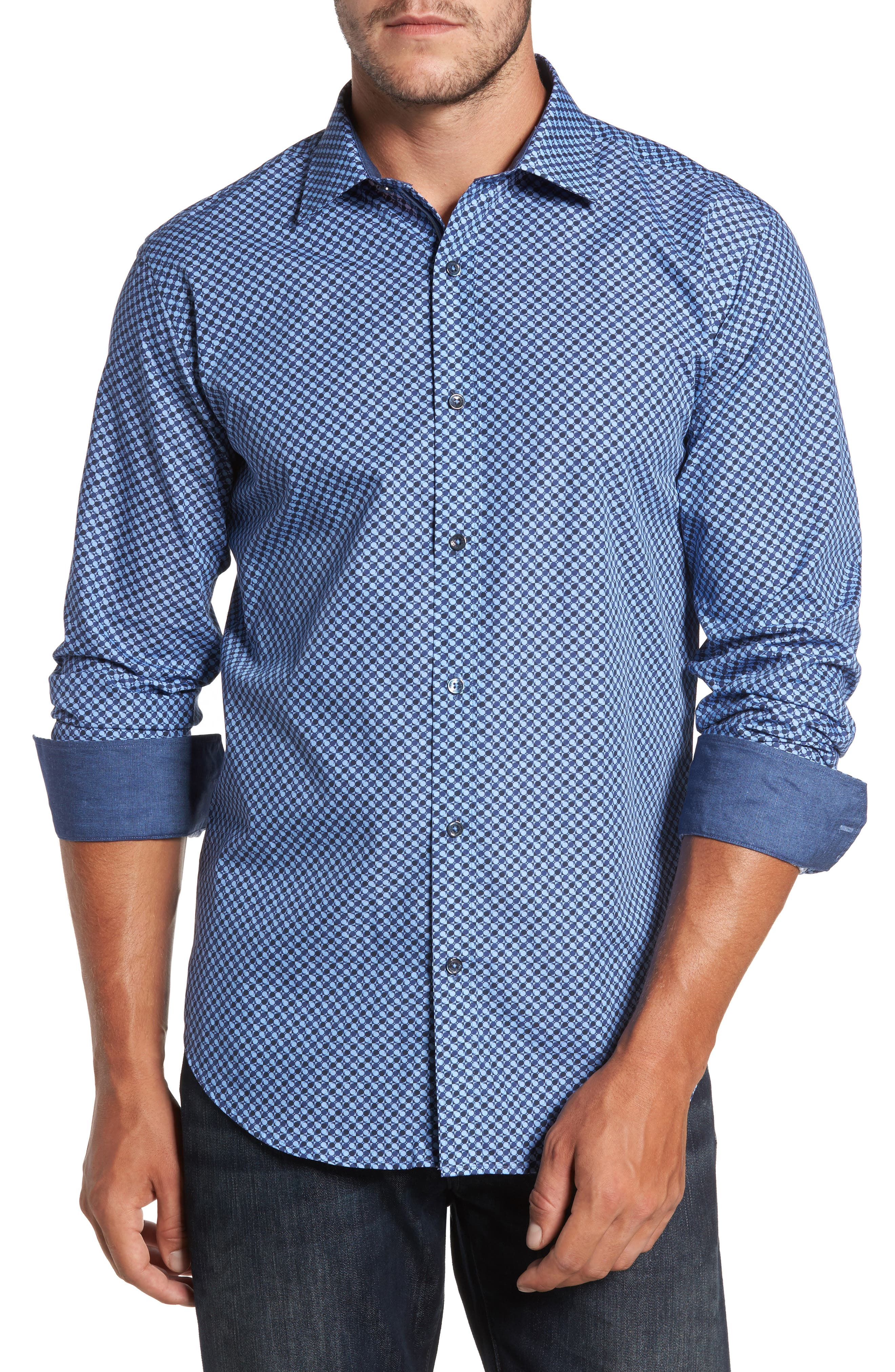 Trim Fit Dot Print Sport Shirt,                             Main thumbnail 1, color,                             Classic Blue