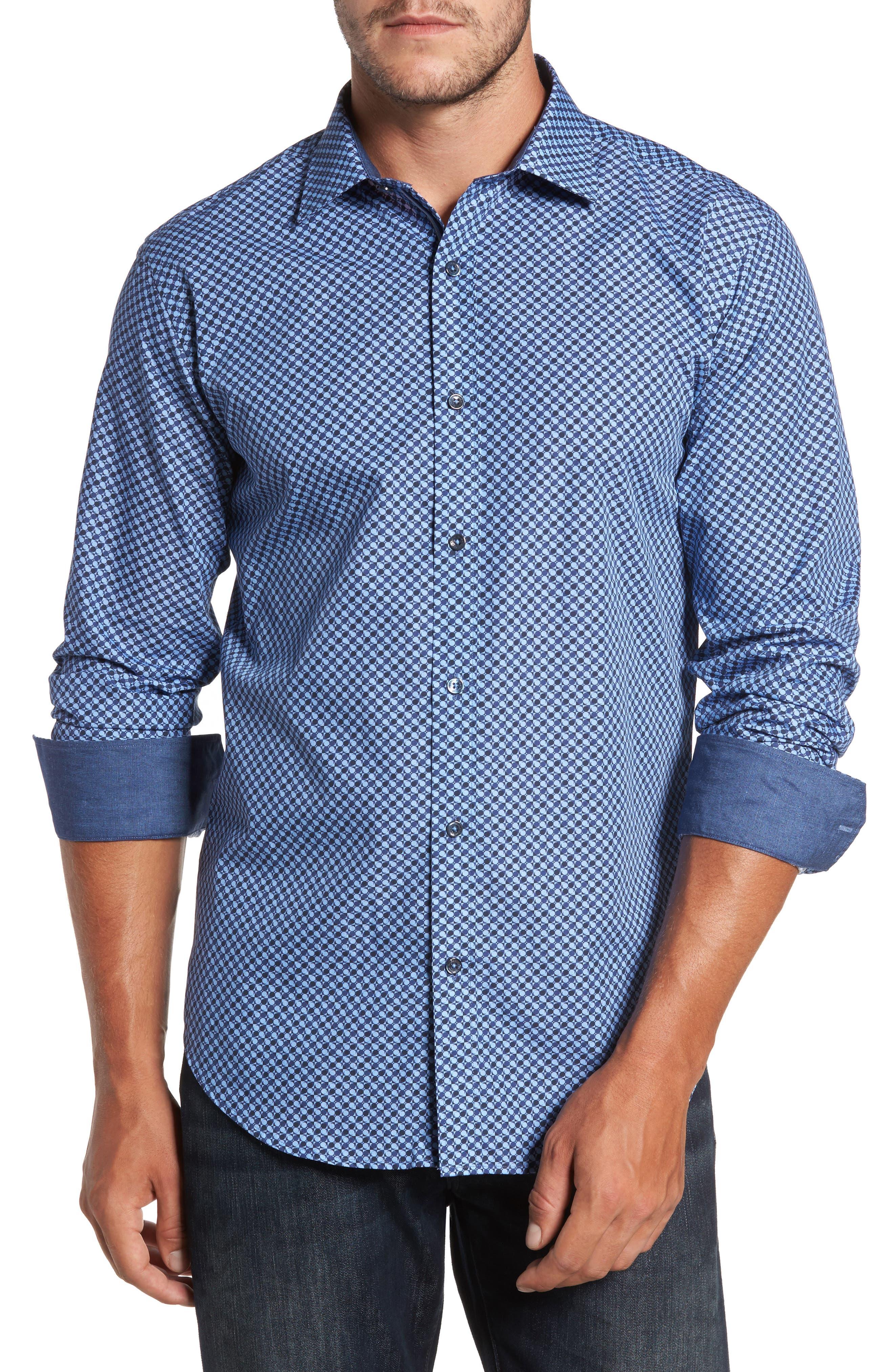 Trim Fit Dot Print Sport Shirt,                         Main,                         color, Classic Blue